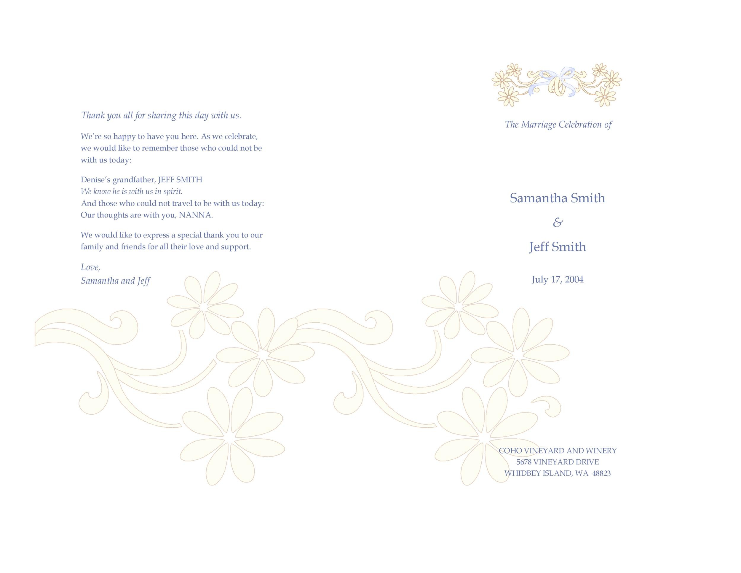 Free Wedding Program Template 18