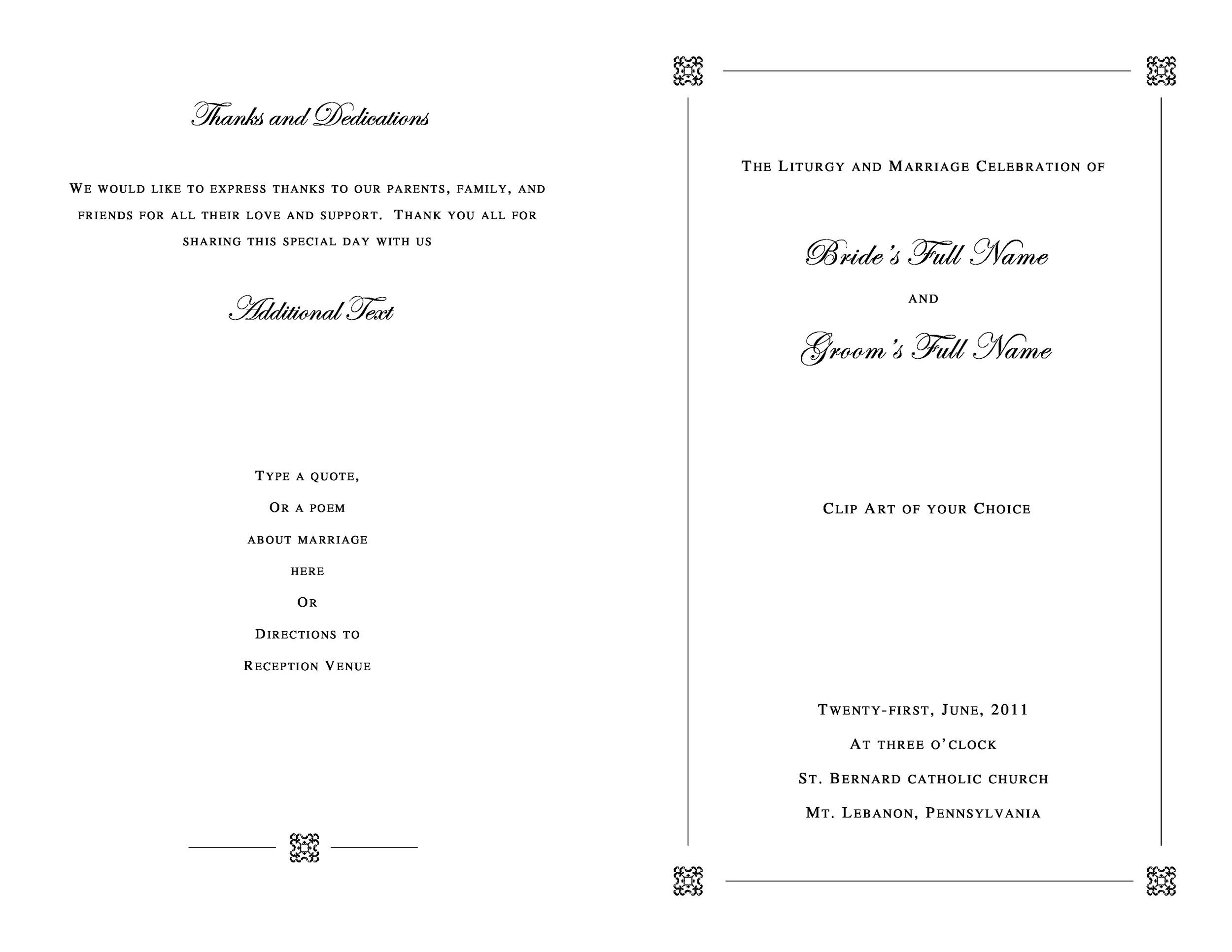Free Wedding Program Template 19