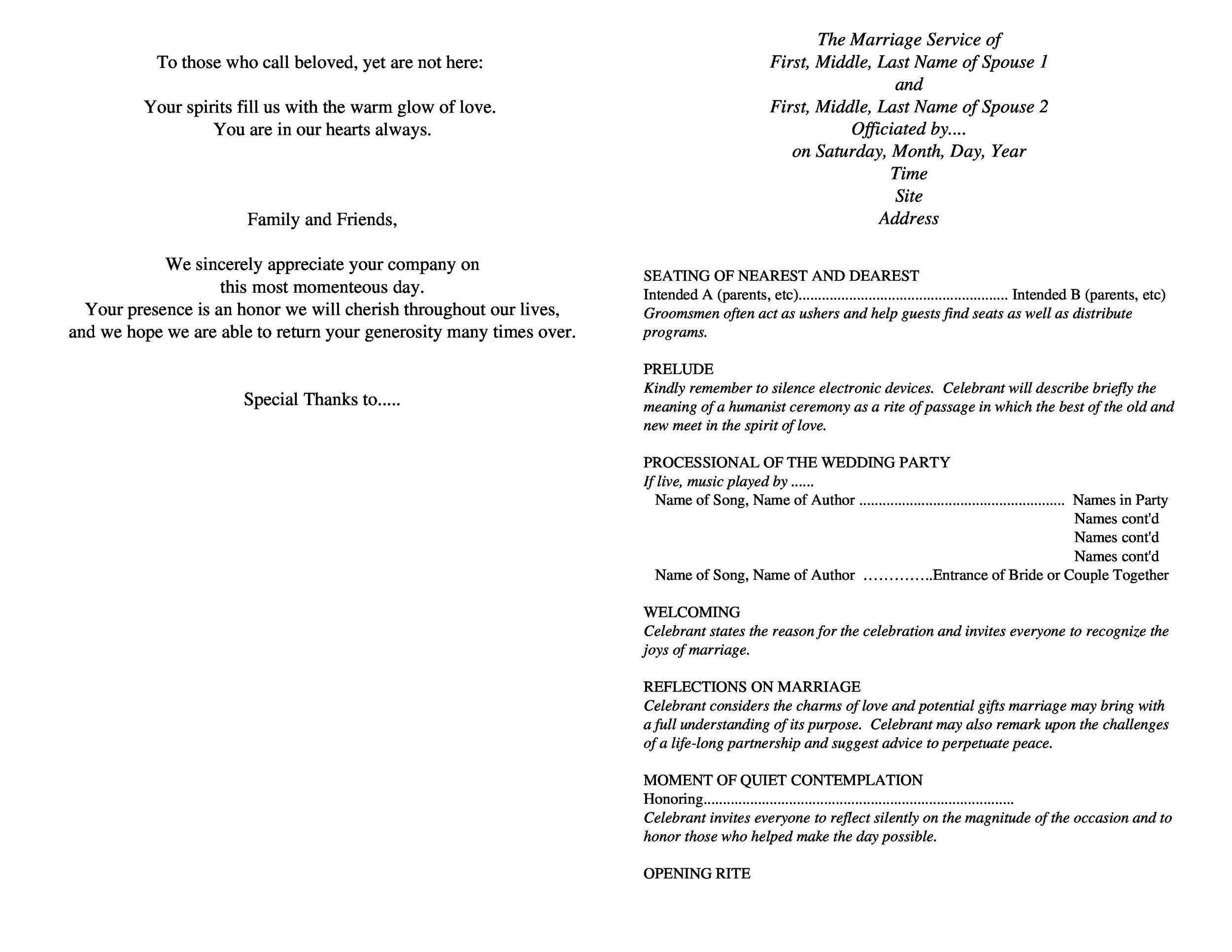 Free Wedding Program Template 21