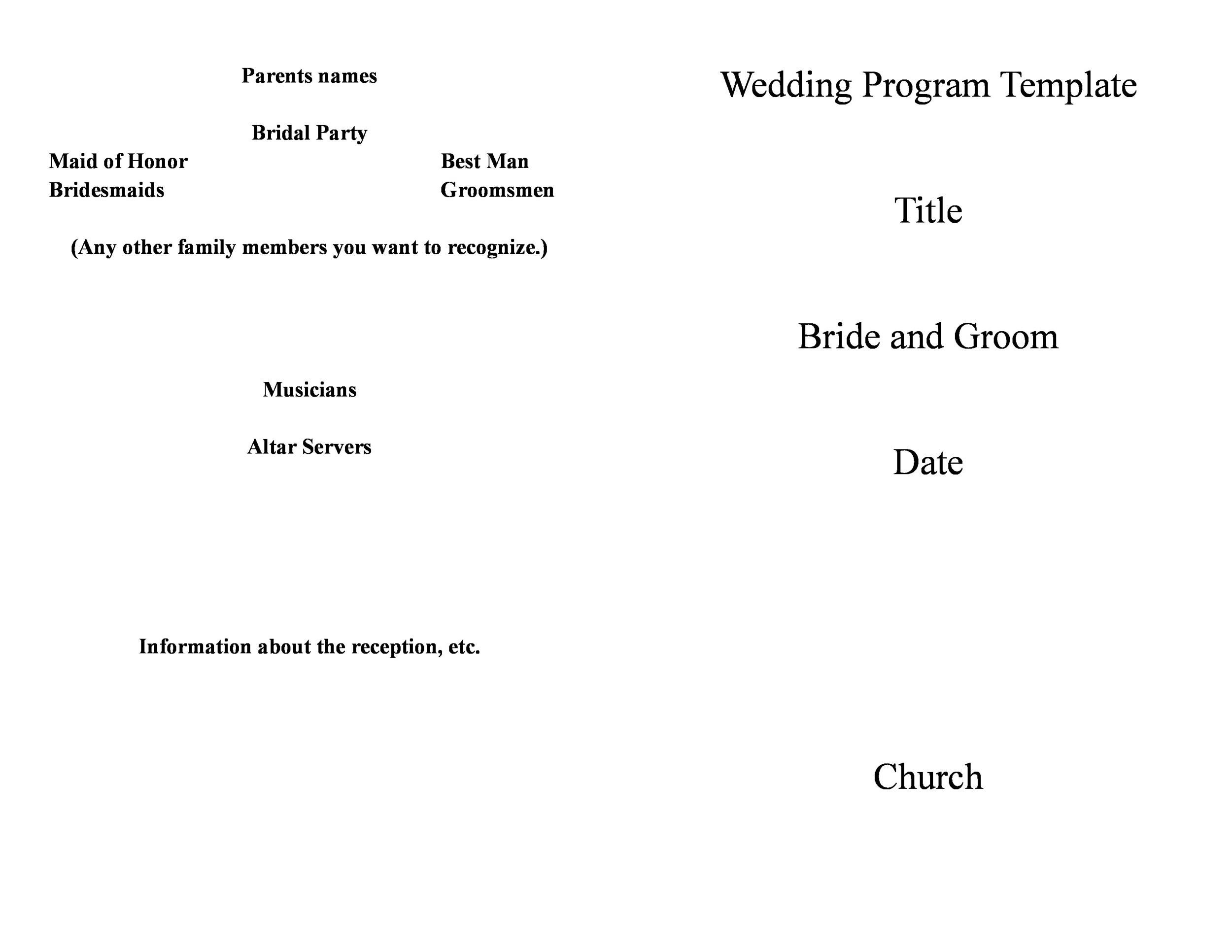 Free Wedding Program Template 23