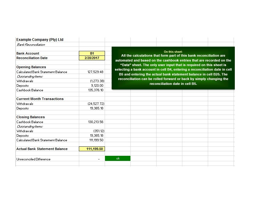 Free Bank Reconciliation Template 04