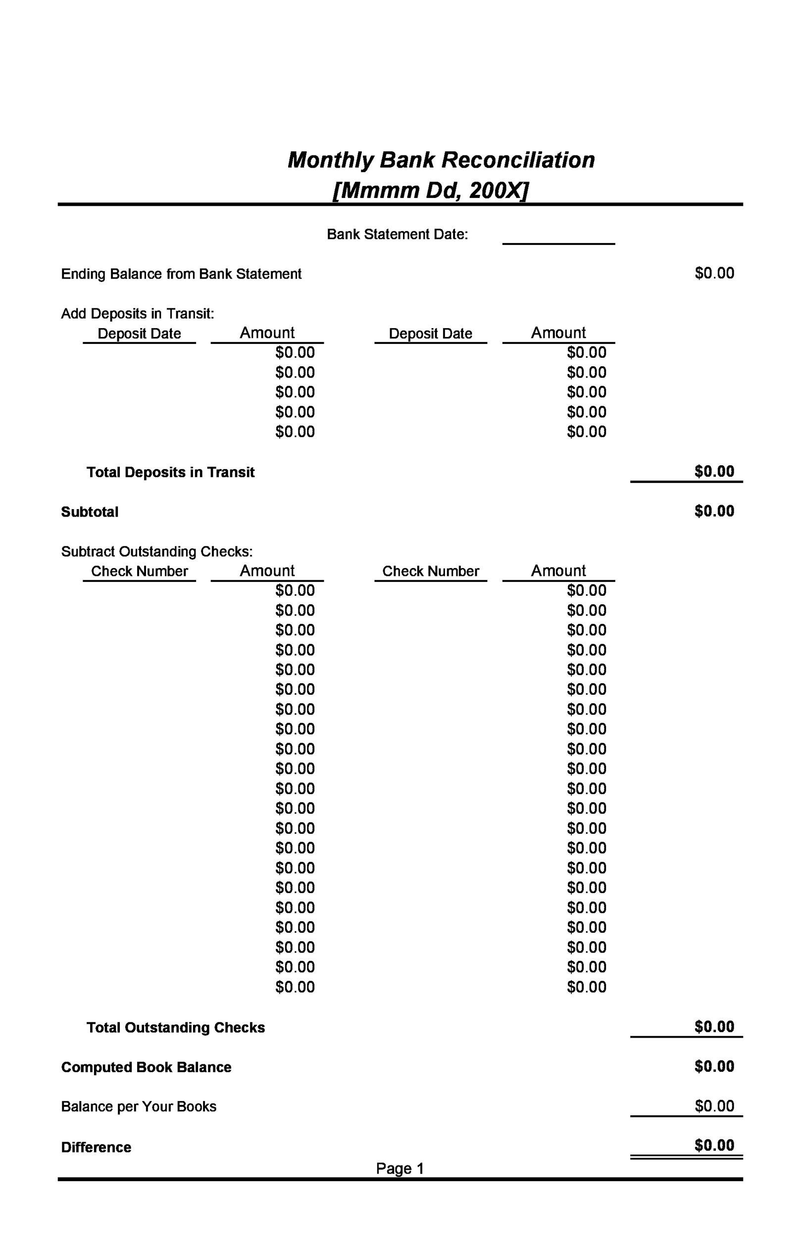 Free Bank Reconciliation Template 05