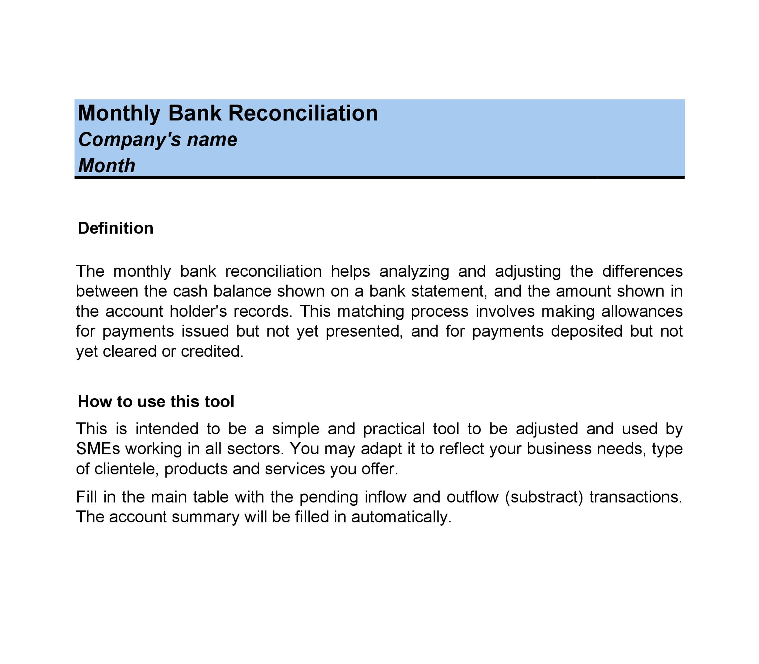 Free Bank Reconciliation Template 06