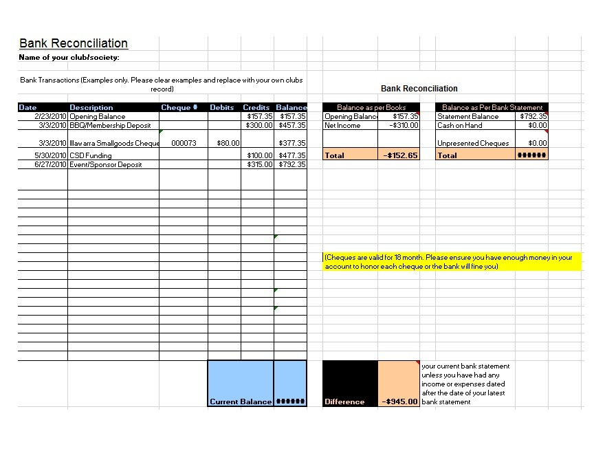 Free Bank Reconciliation Template 17
