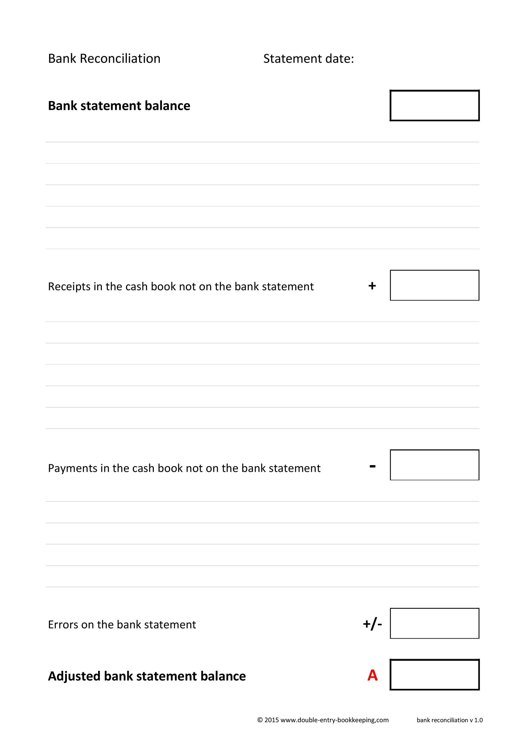 Printable Bank Reconciliation Template 25  Bank Statement Reconciliation Form