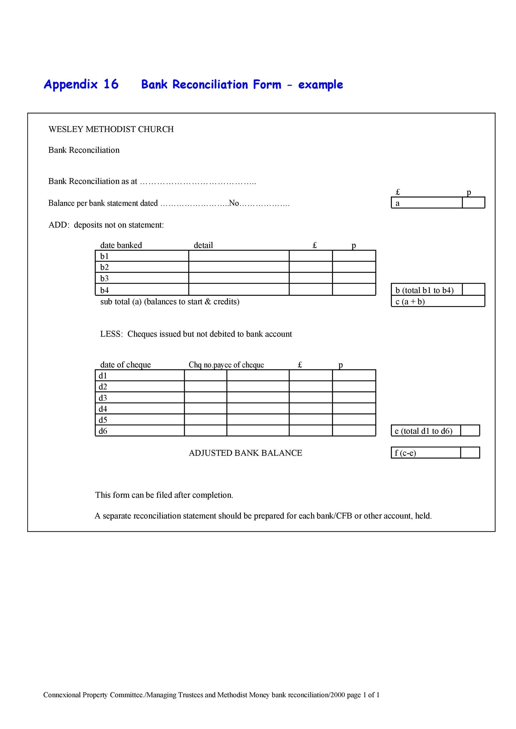 Printable Bank Reconciliation Template 30  Bank Statement Reconciliation Form