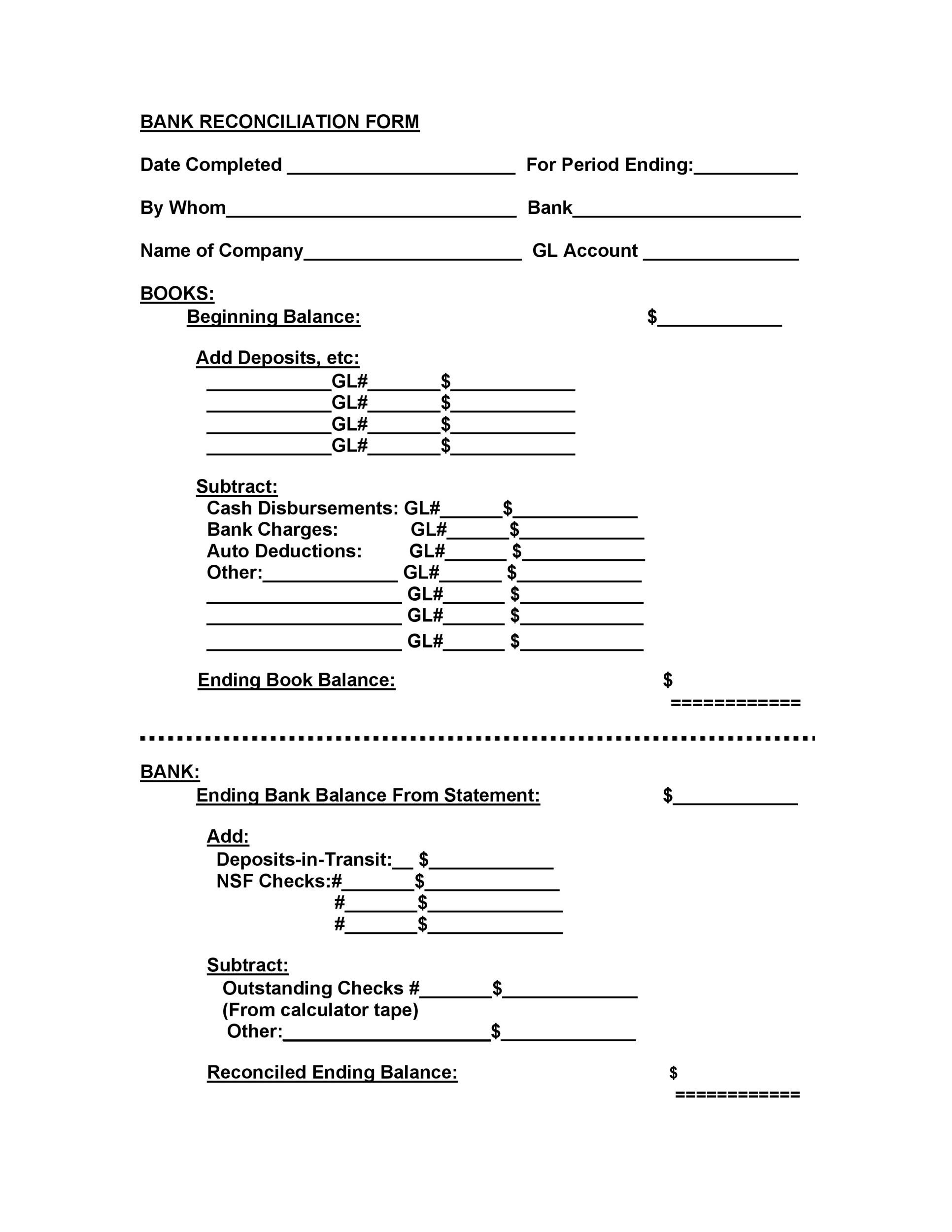 Free Bank Reconciliation Template 35