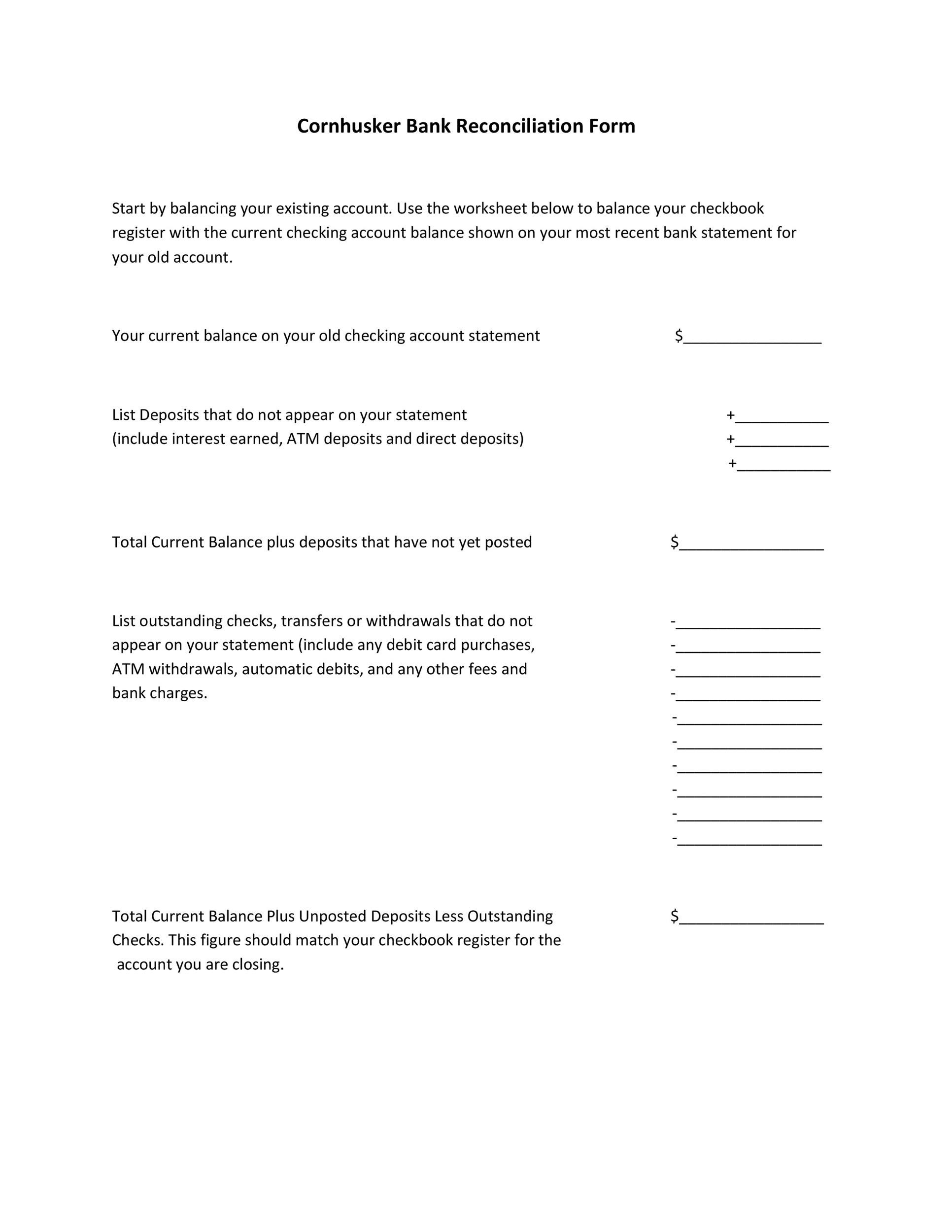 Free Bank Reconciliation Template 36