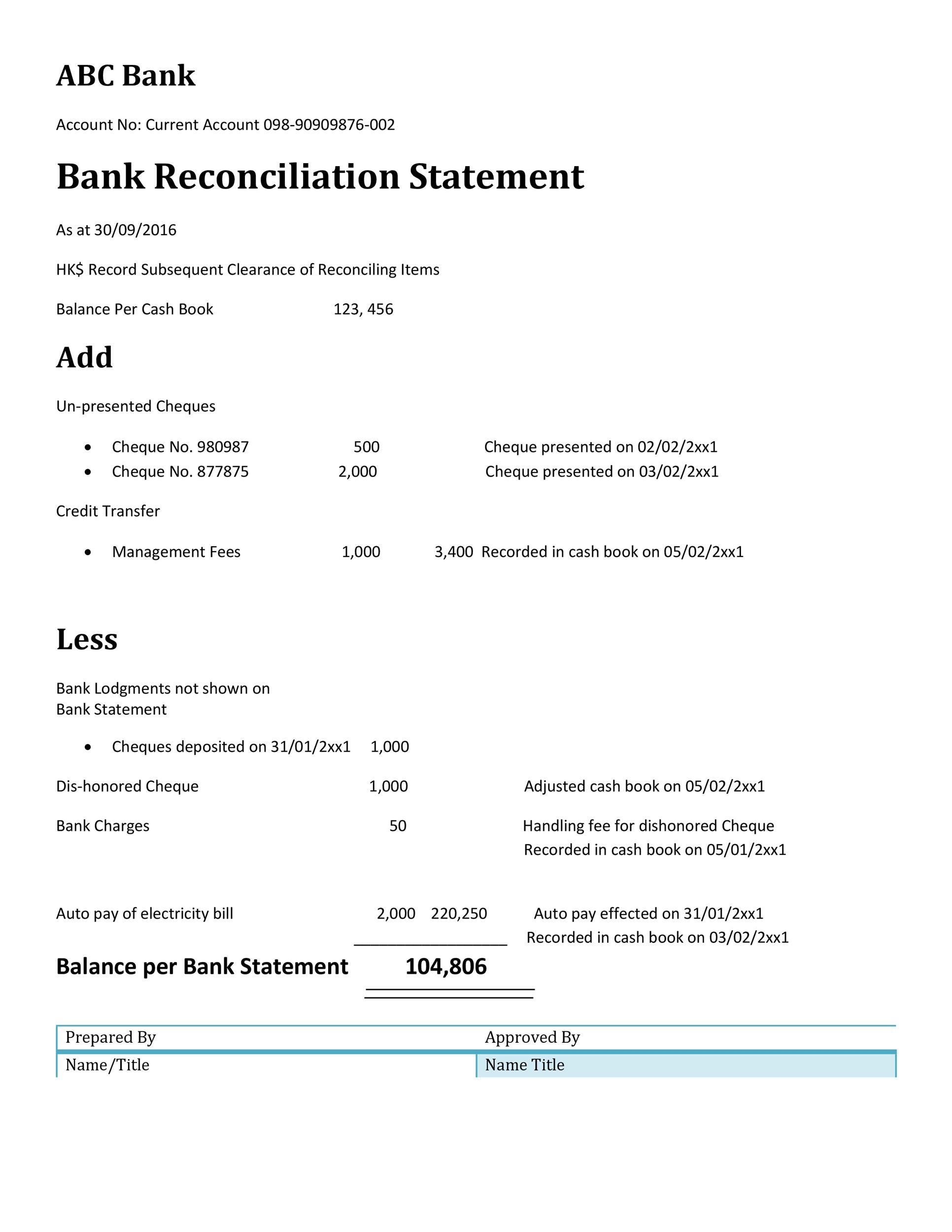simple bank reconciliation template