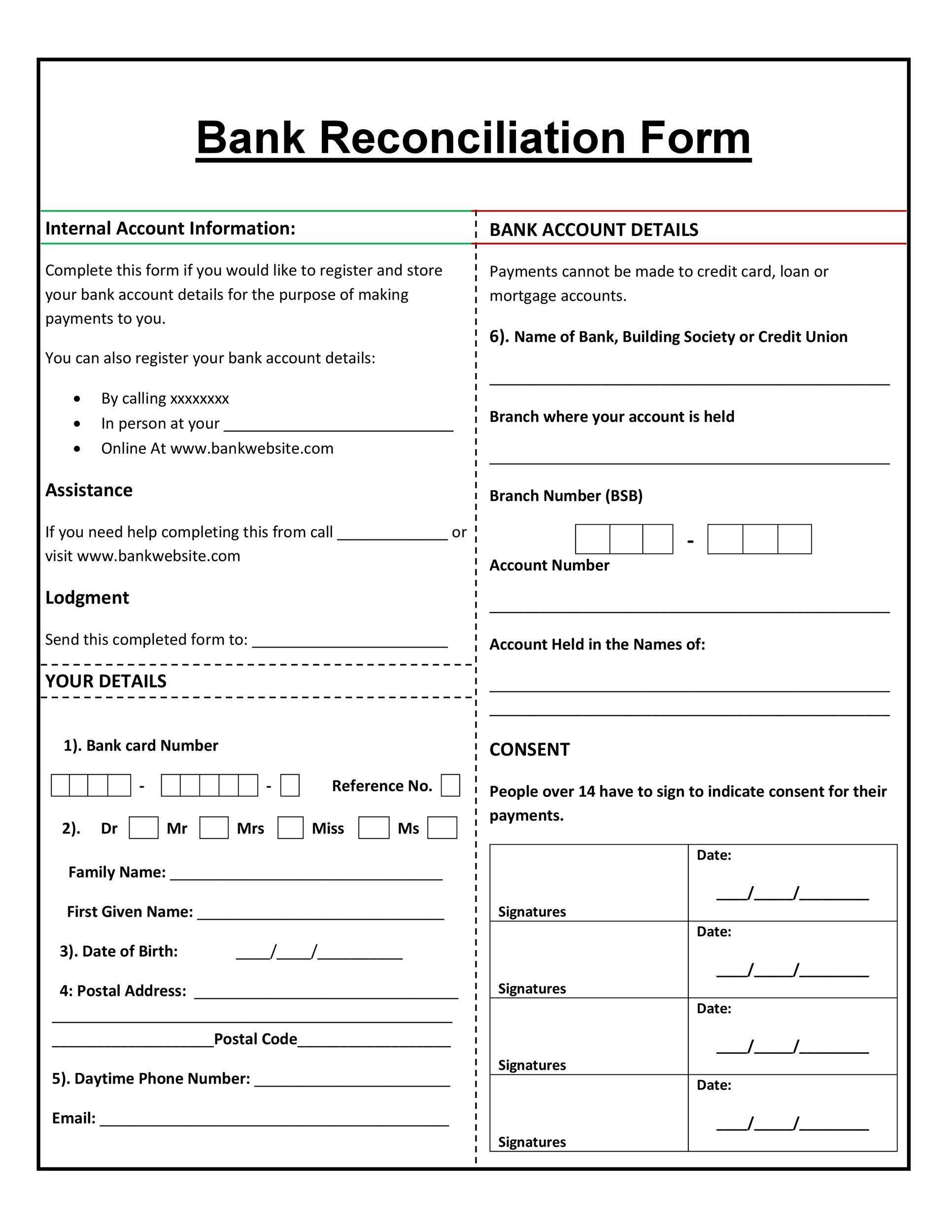 Free Bank Reconciliation Template 39