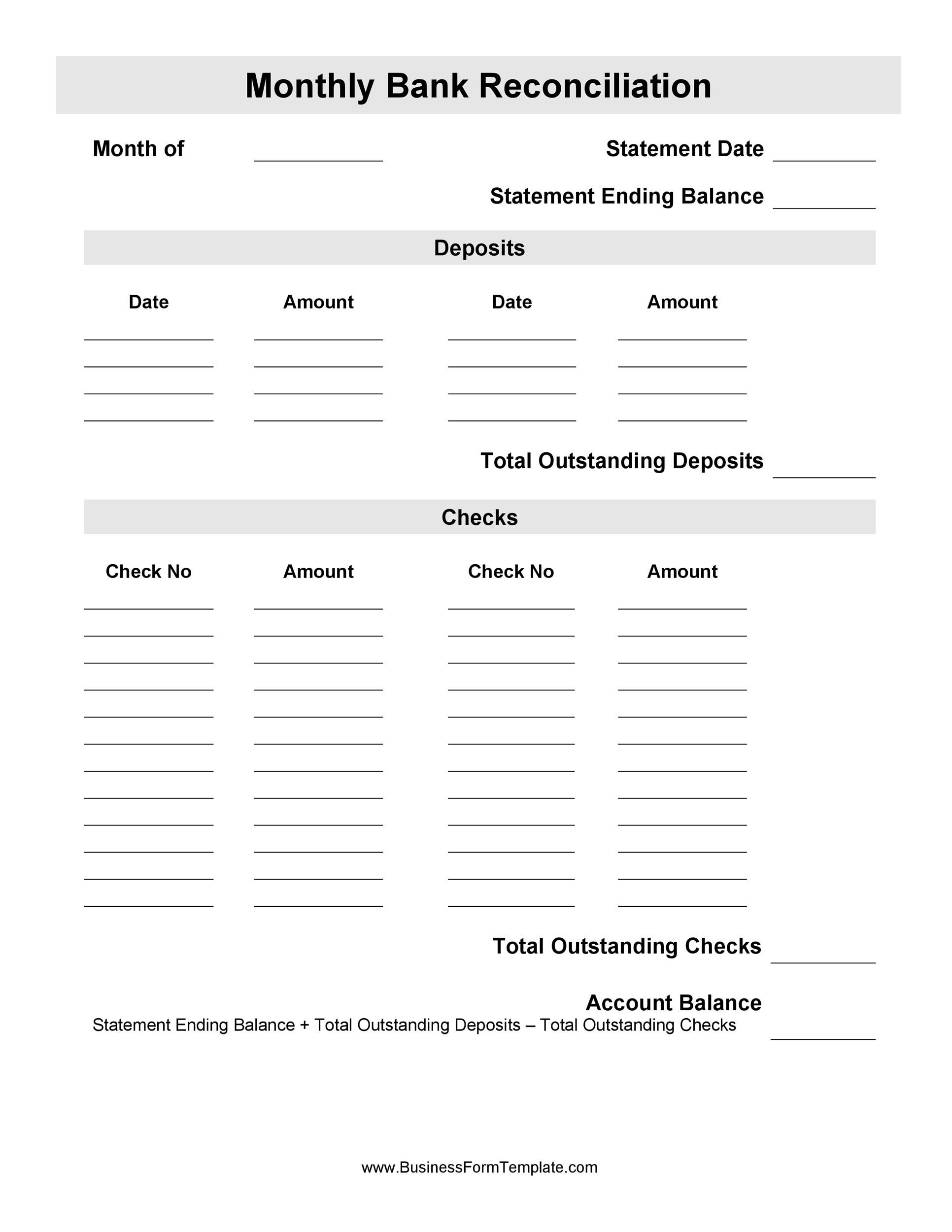 Free Bank Reconciliation Template 40