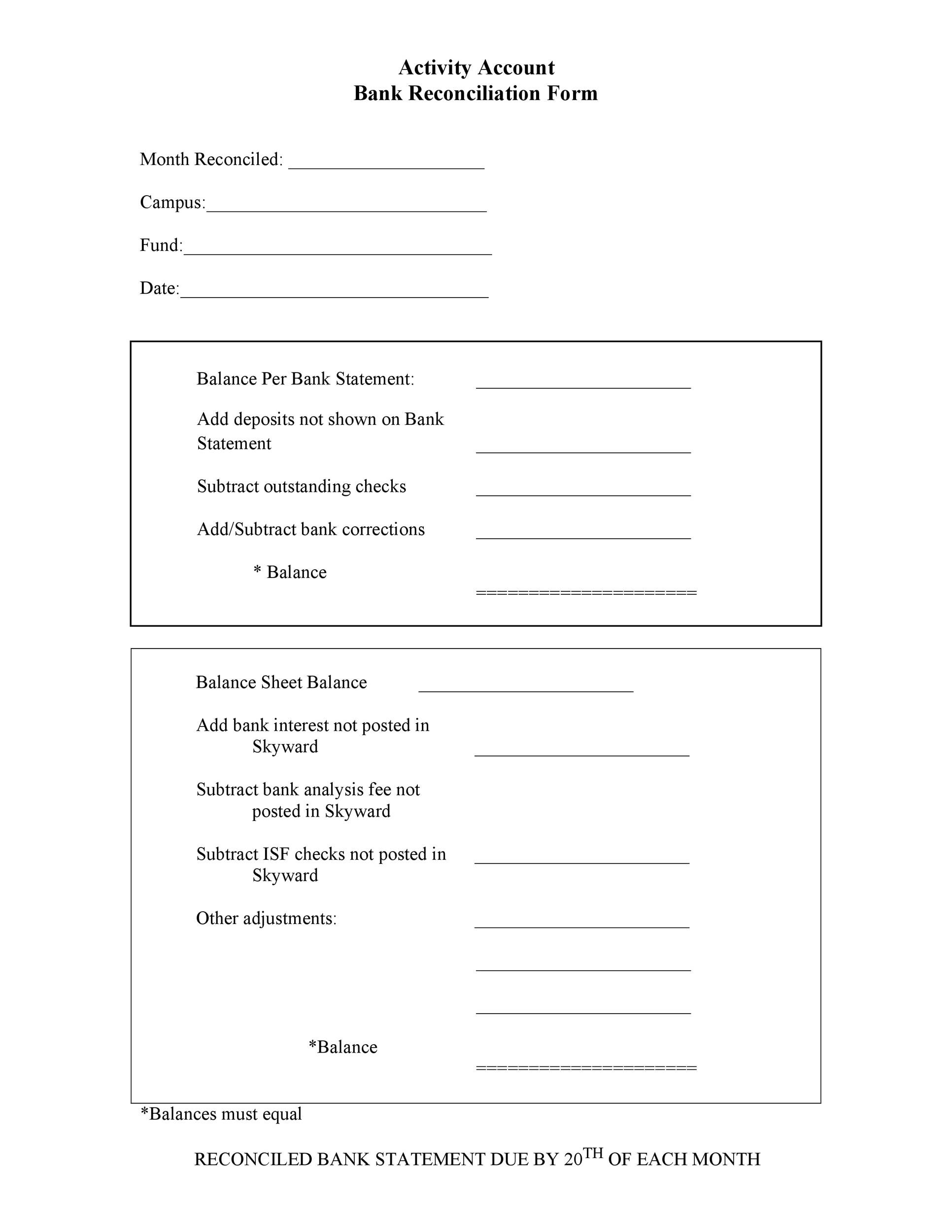 Free Bank Reconciliation Template 44