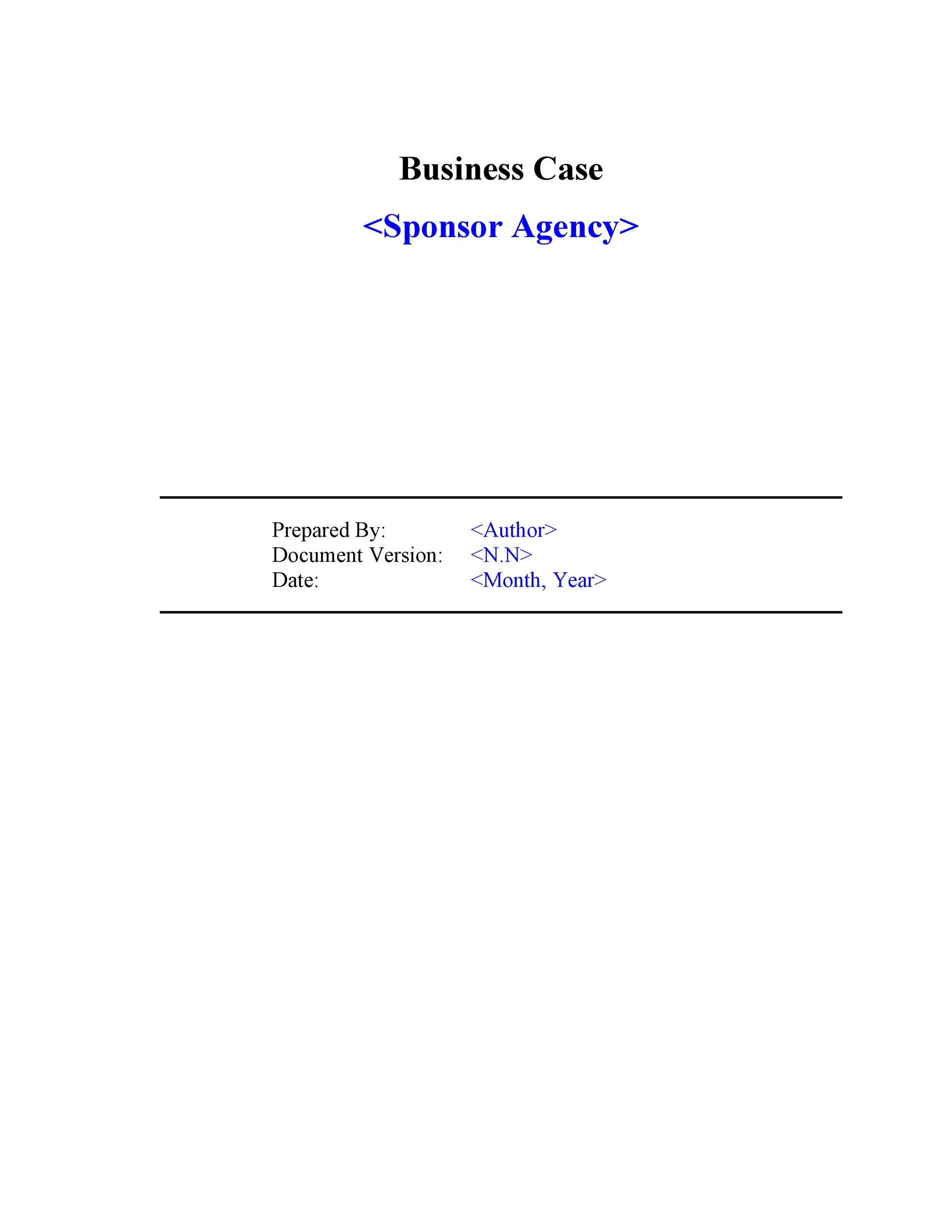 Free Business Case Template 01