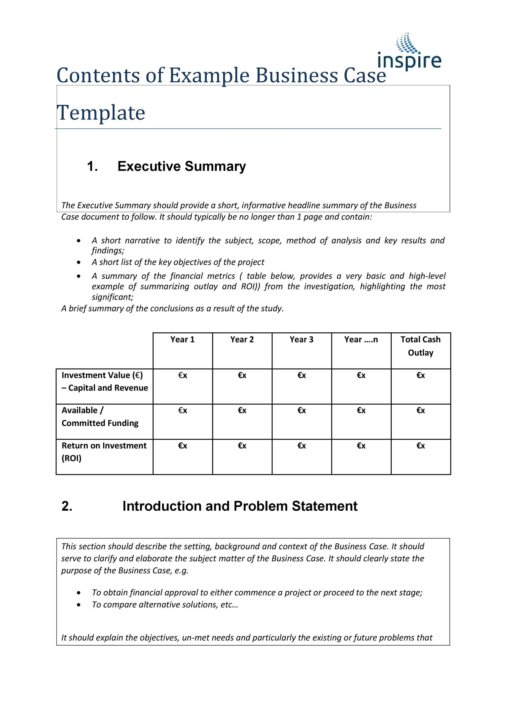 30 simple business case templates examples template lab free business case template 03 wajeb Image collections