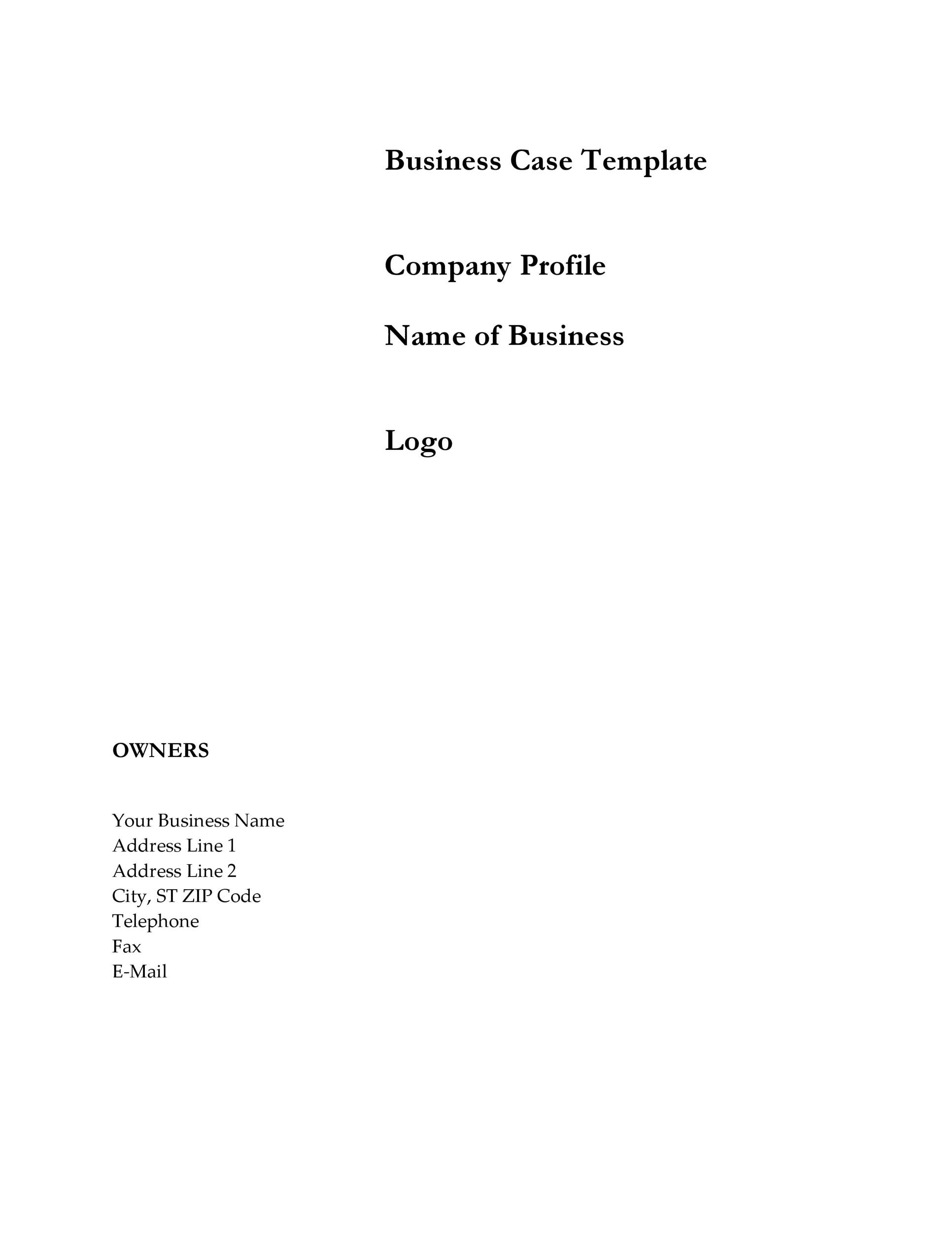 Free Business Case Template 14