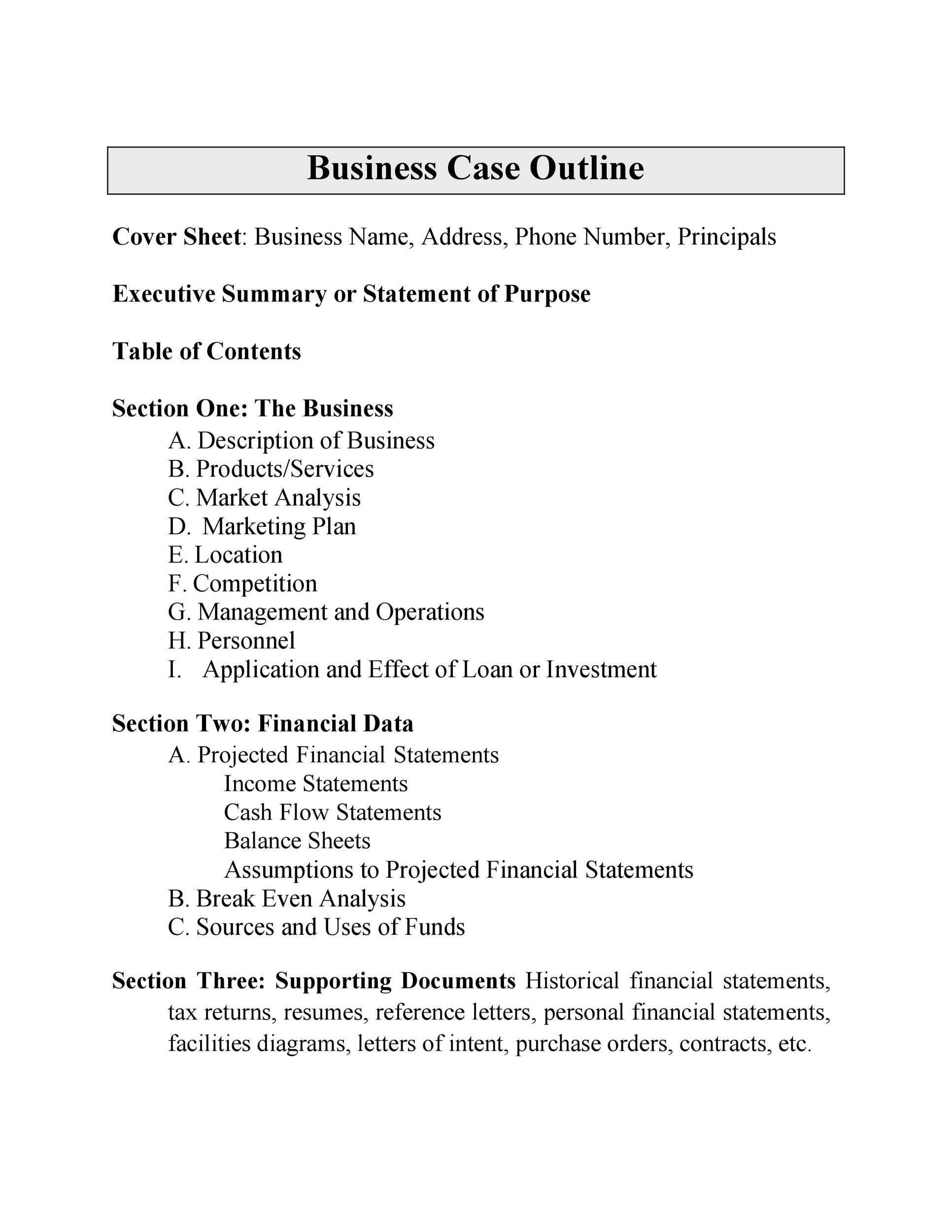 Free Business Case Template 15