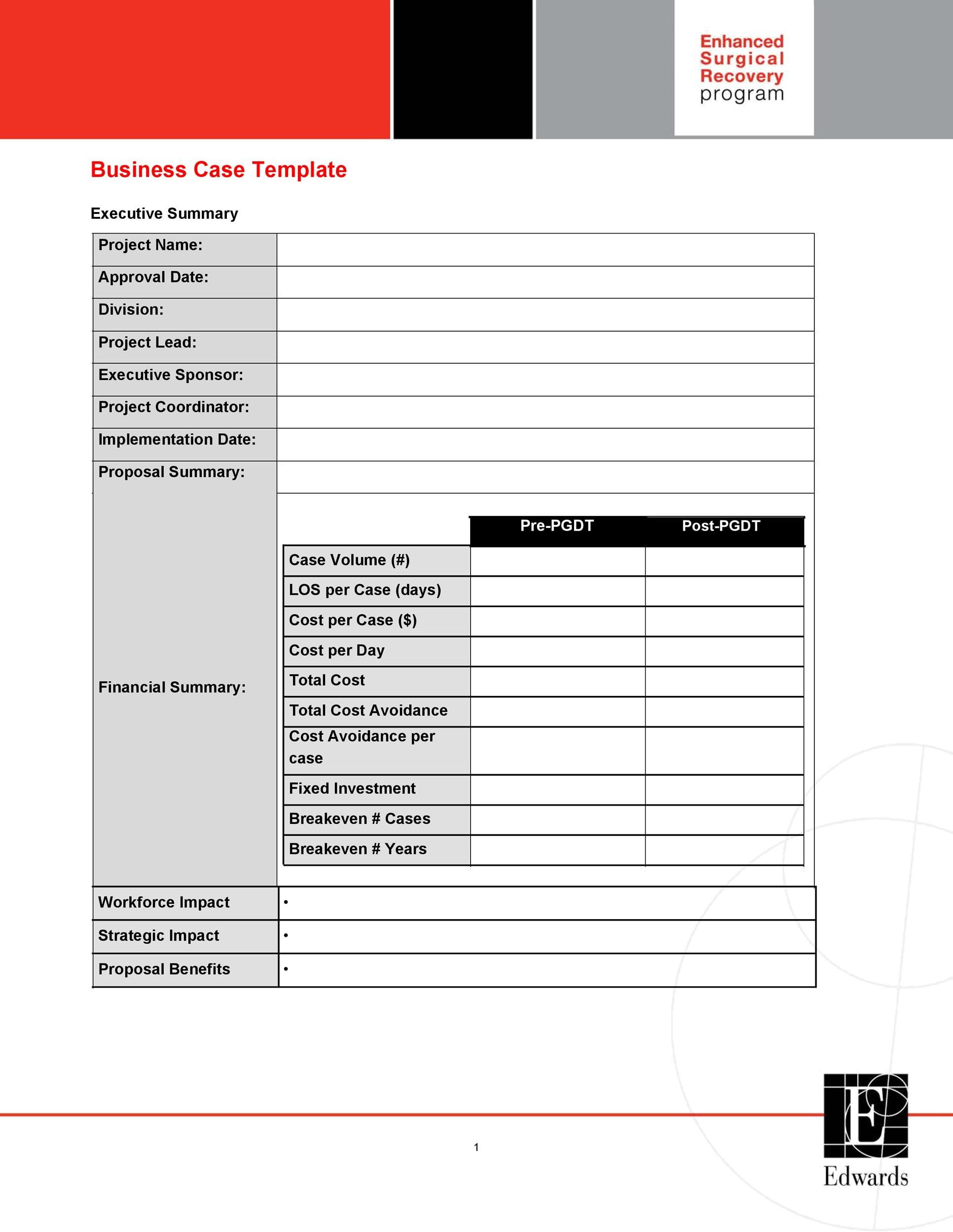 Free Business Case Template 19