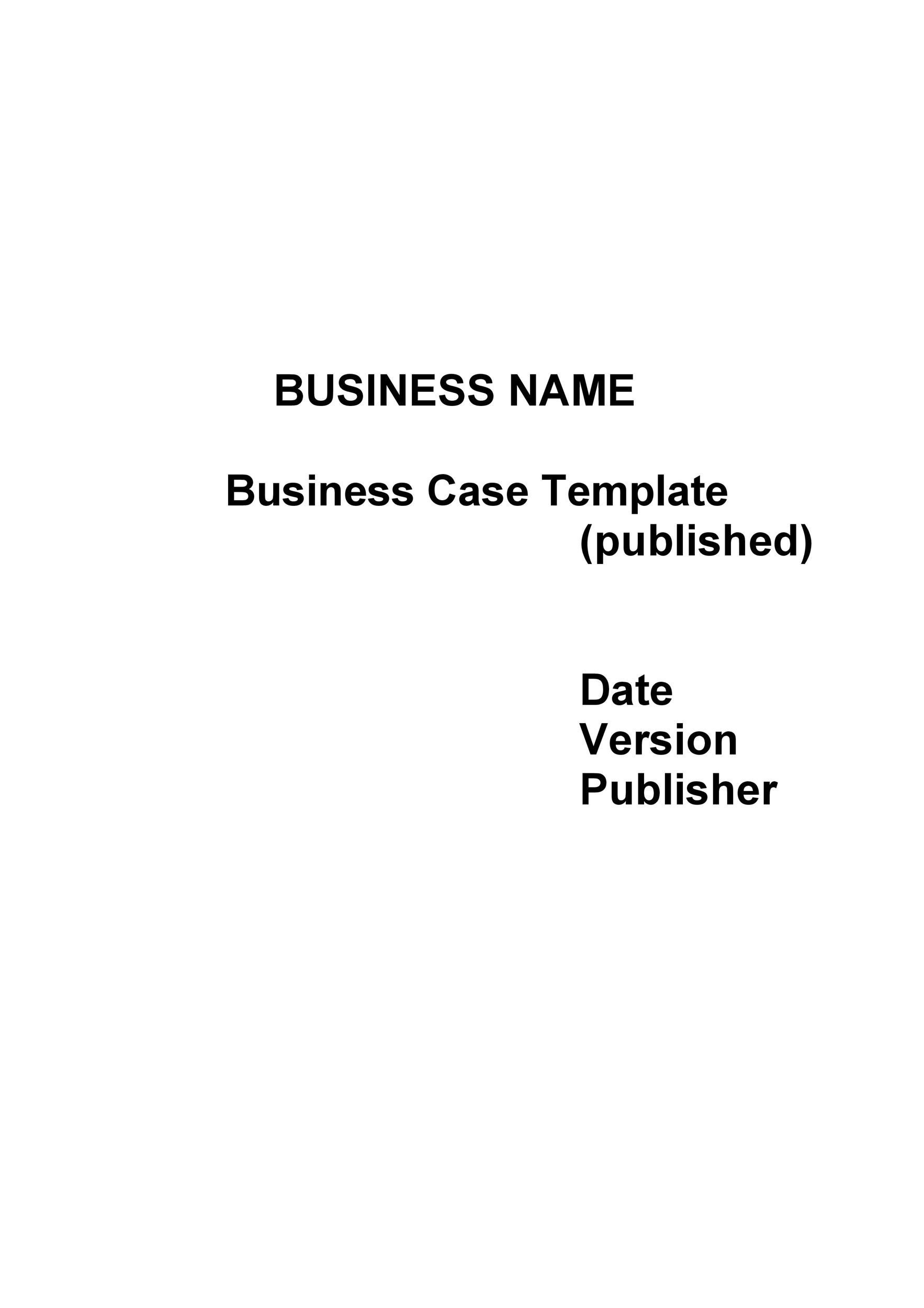 Free Business Case Template 21