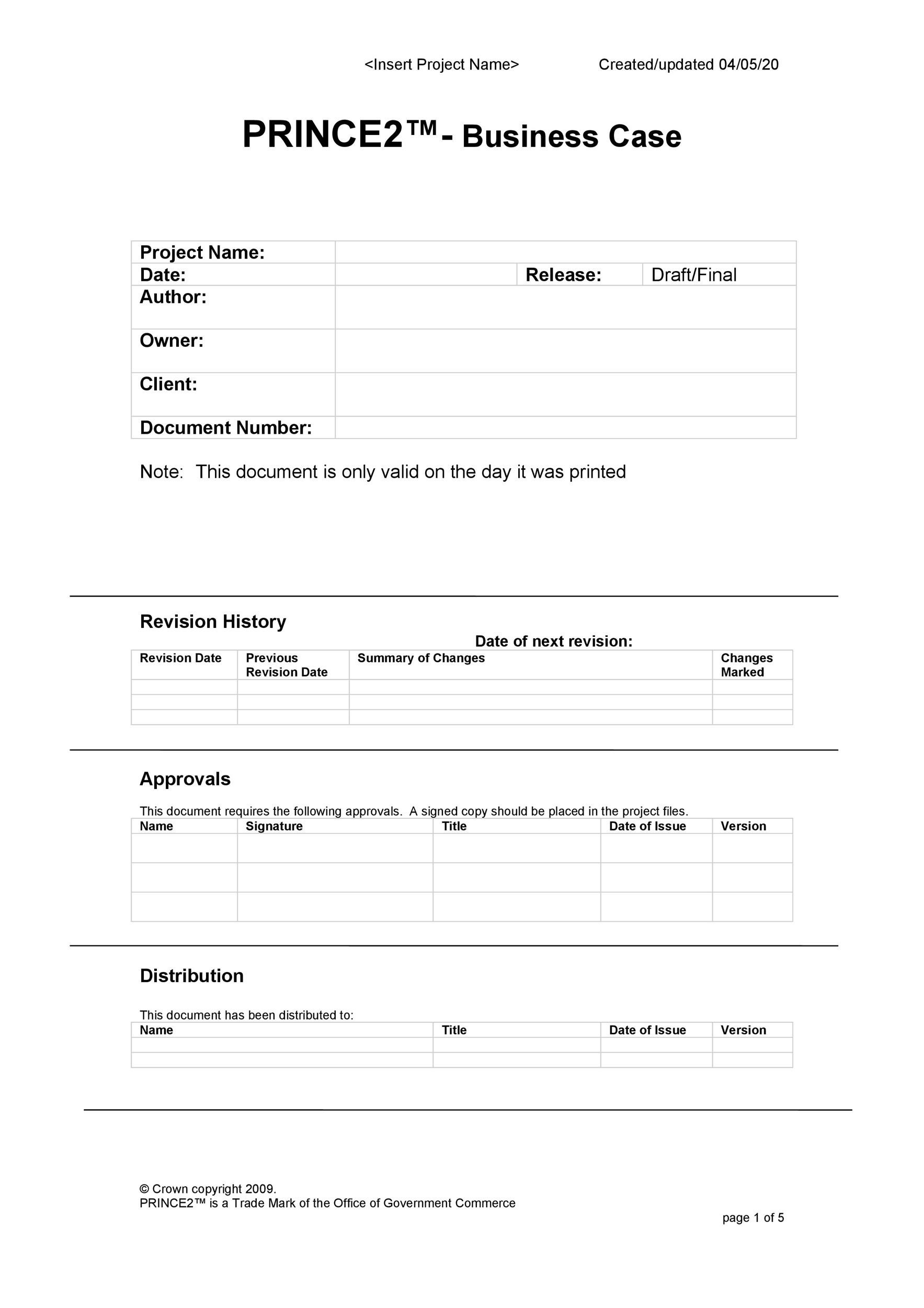 Free Business Case Template 22