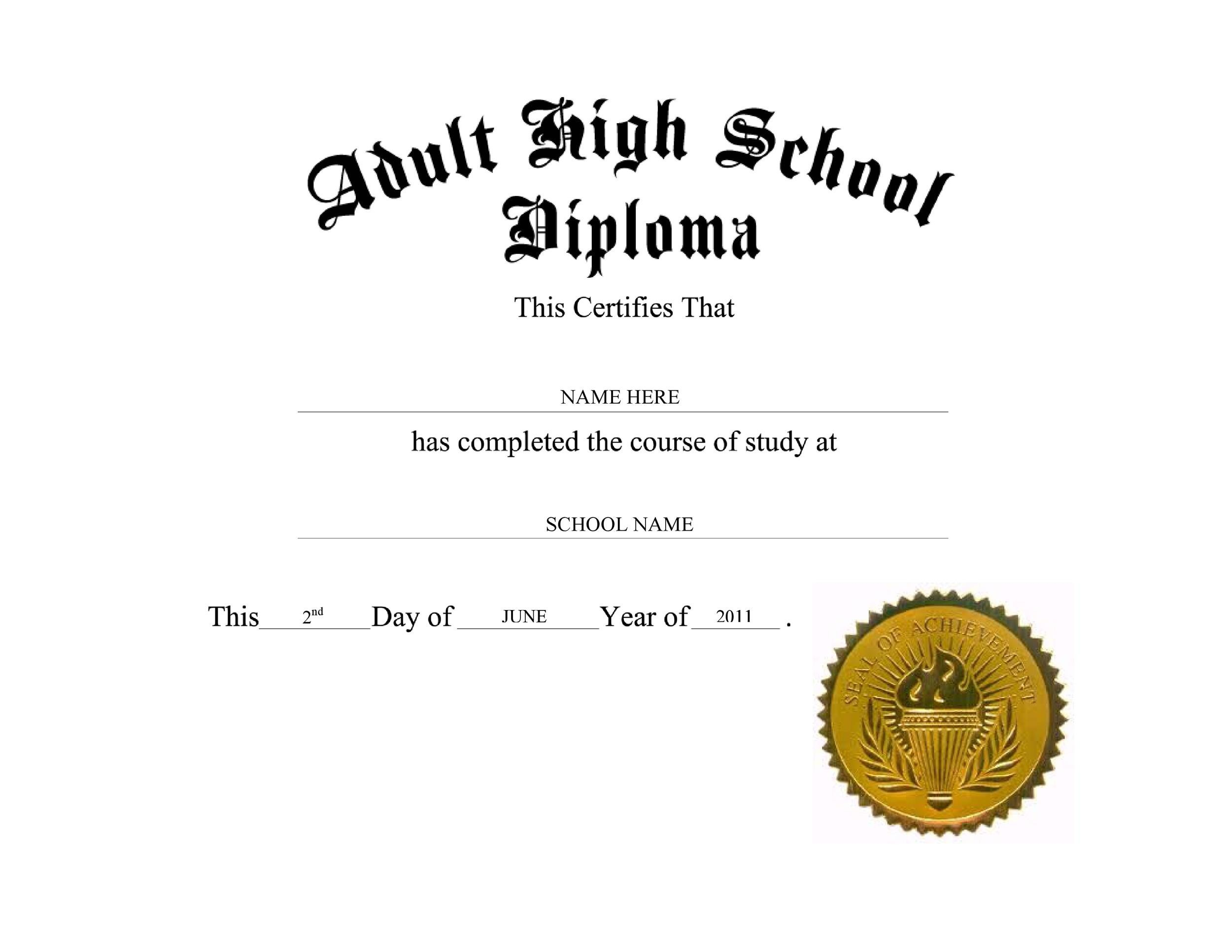 Free Diploma Template 01