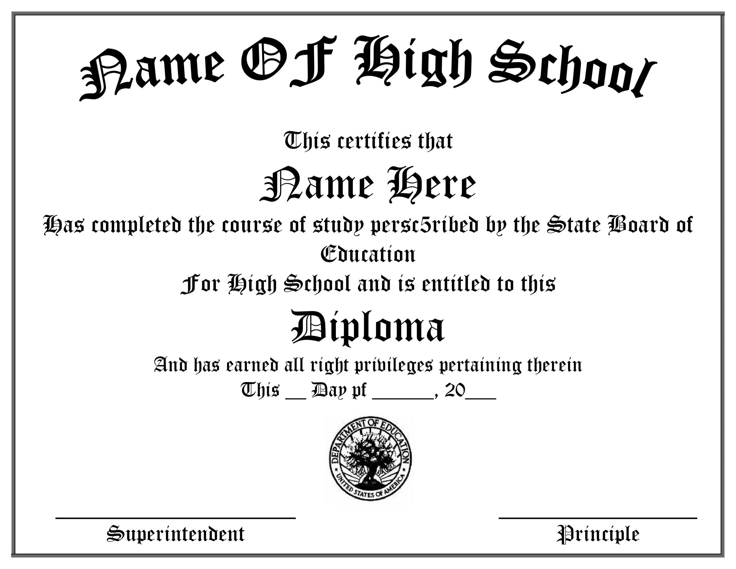 30 real fake diploma templates high school college for Free high school diploma templates