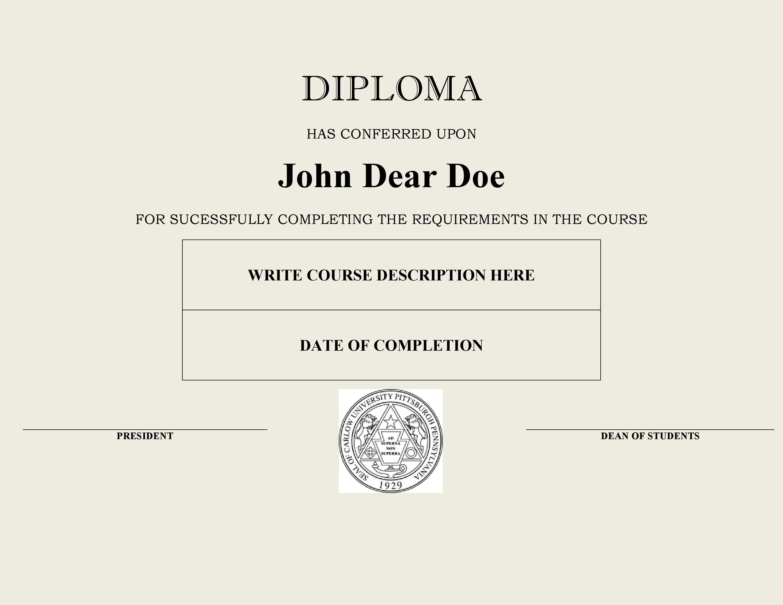Free Diploma Template 03