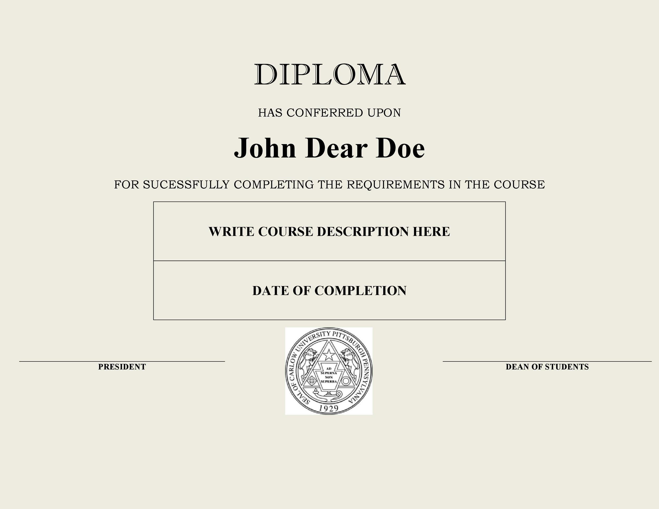 Free Diploma Template 03