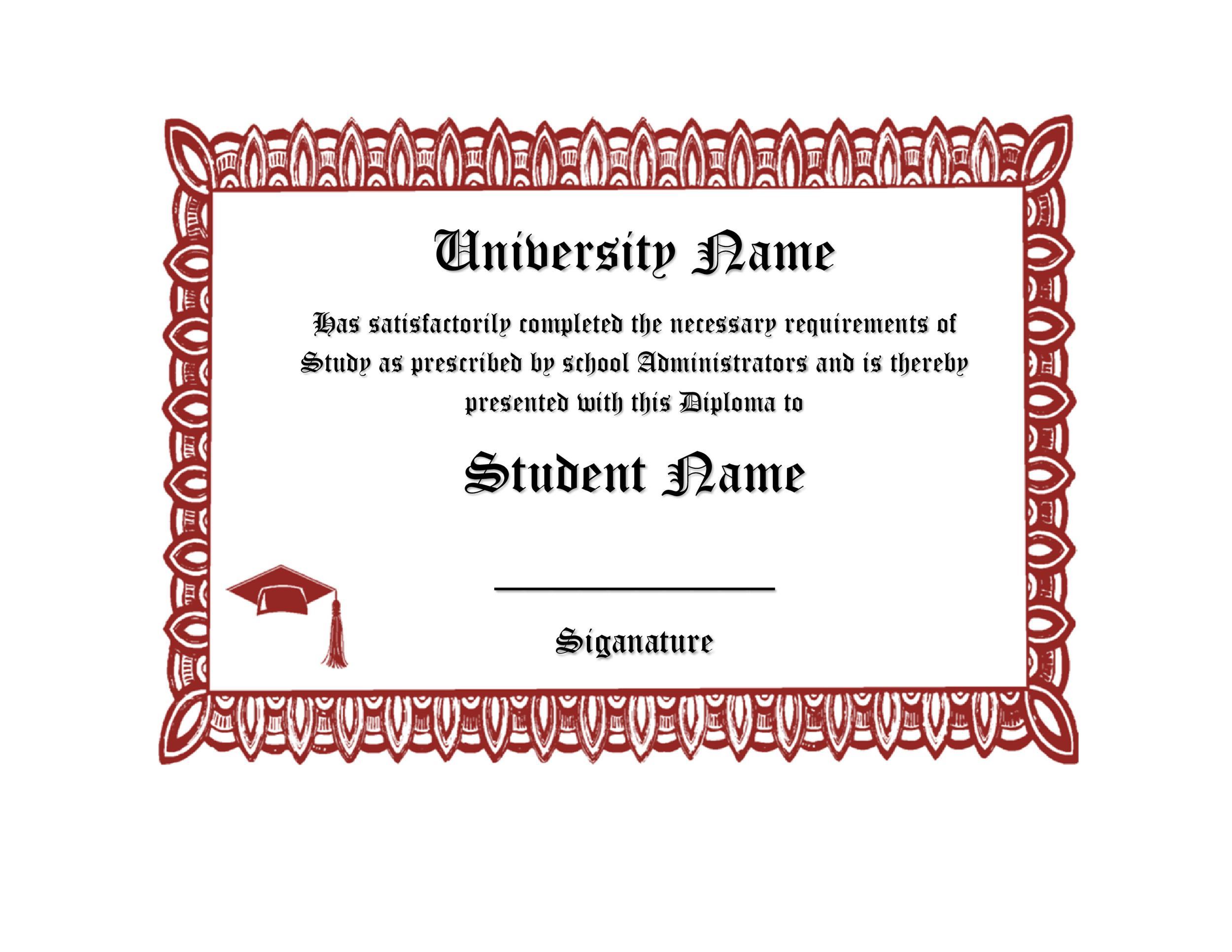 Free Diploma Template 06