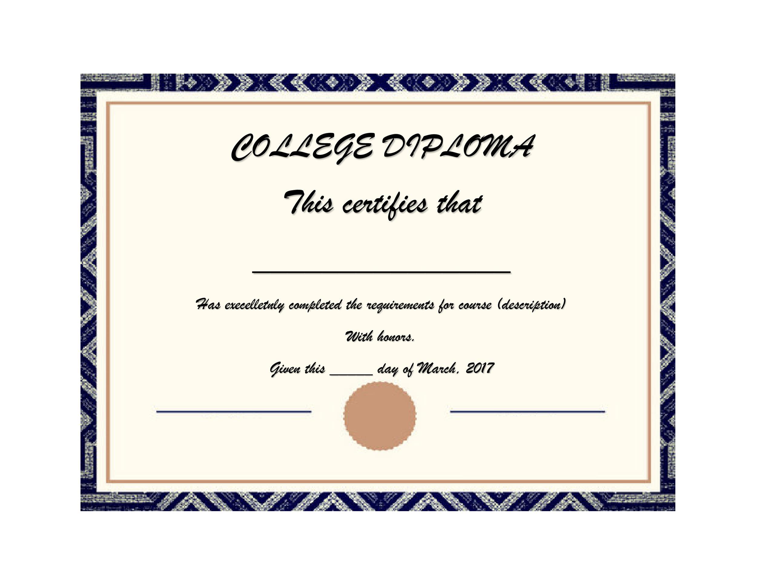 Free Diploma Template 08