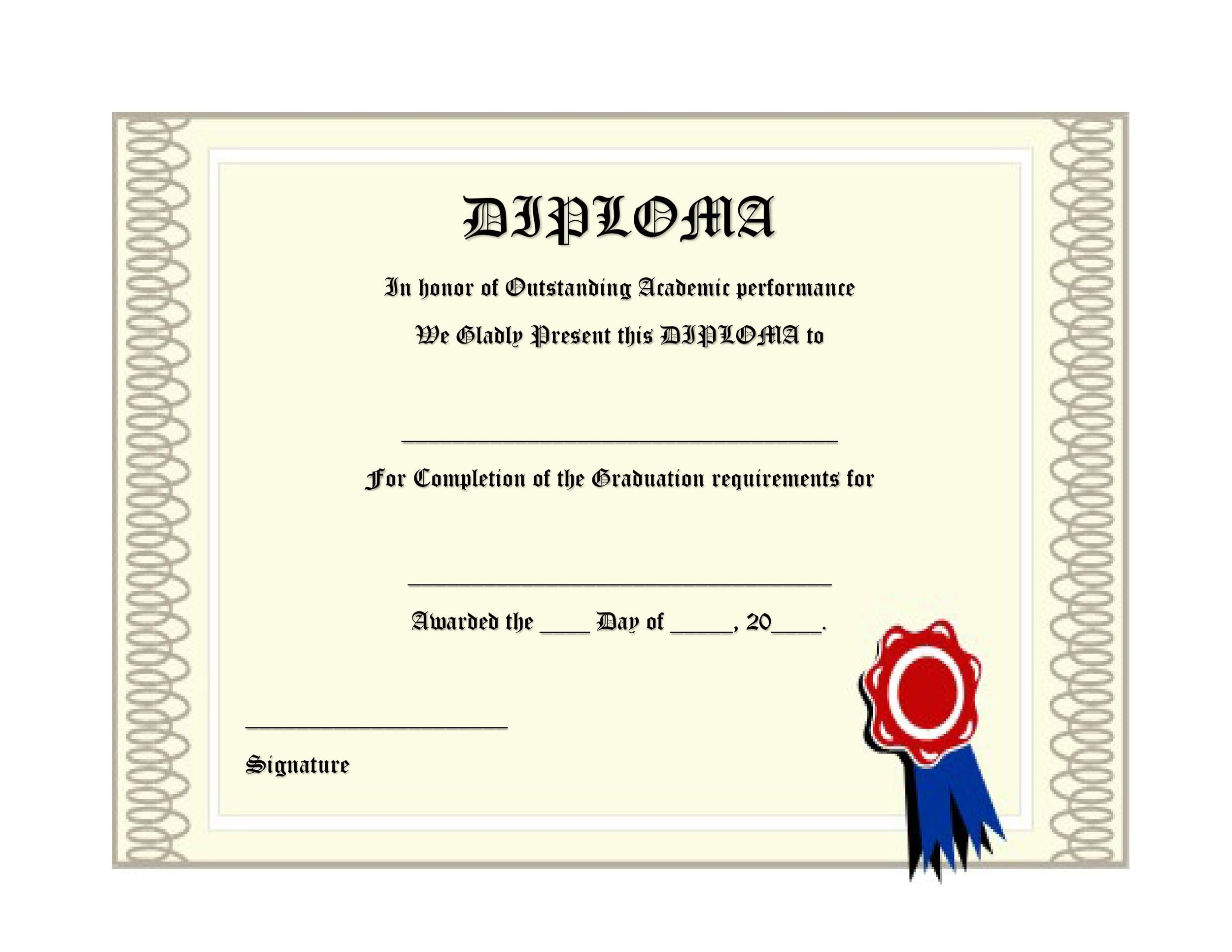 Free Diploma Template 11