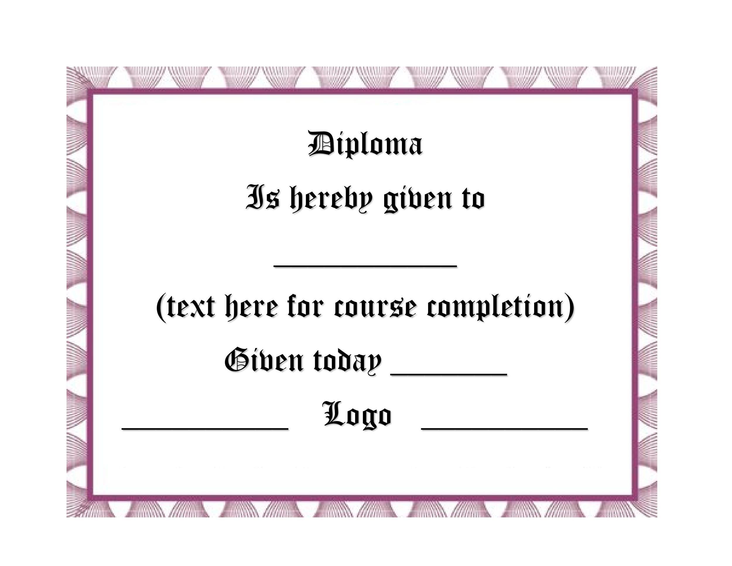 Free Diploma Template 12