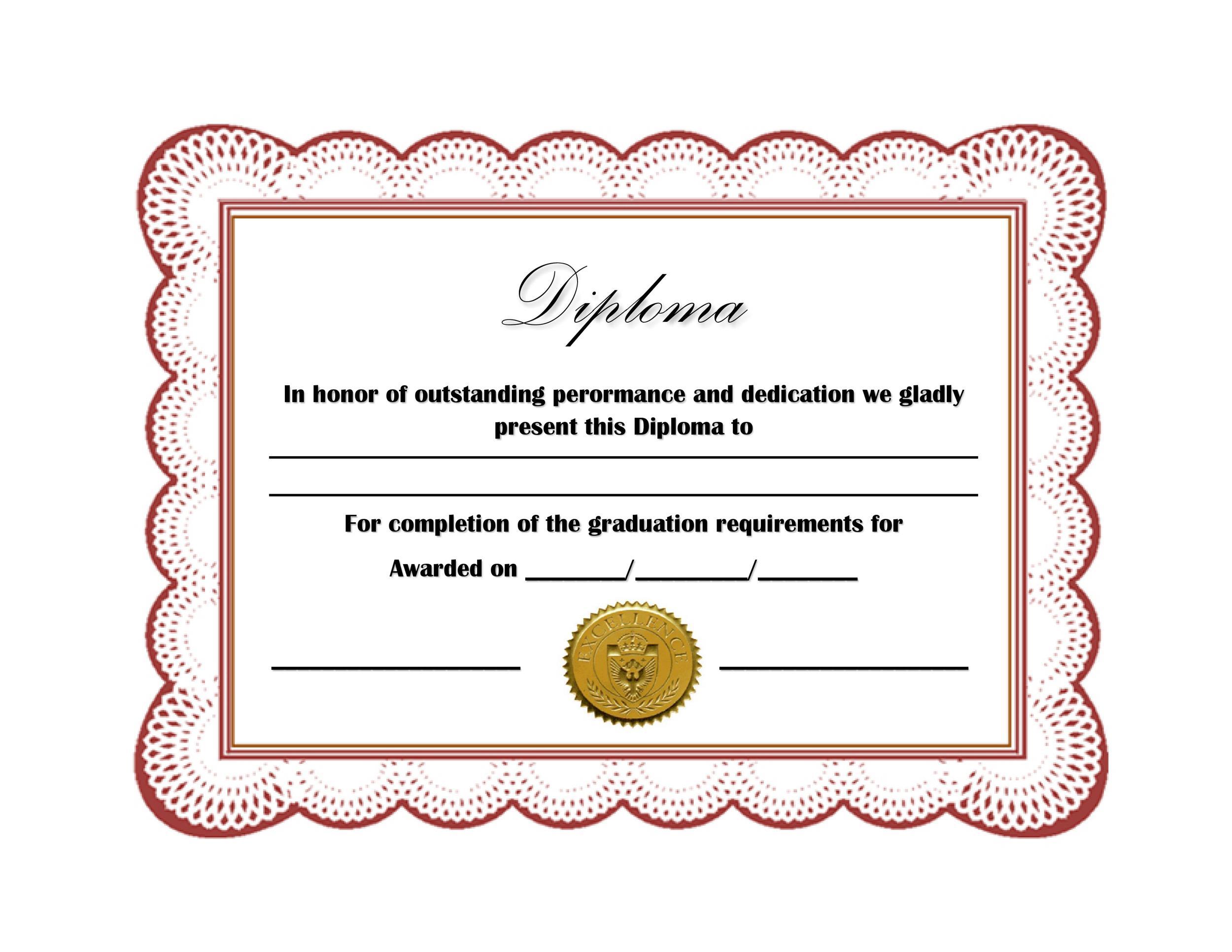 Free Diploma Template 13