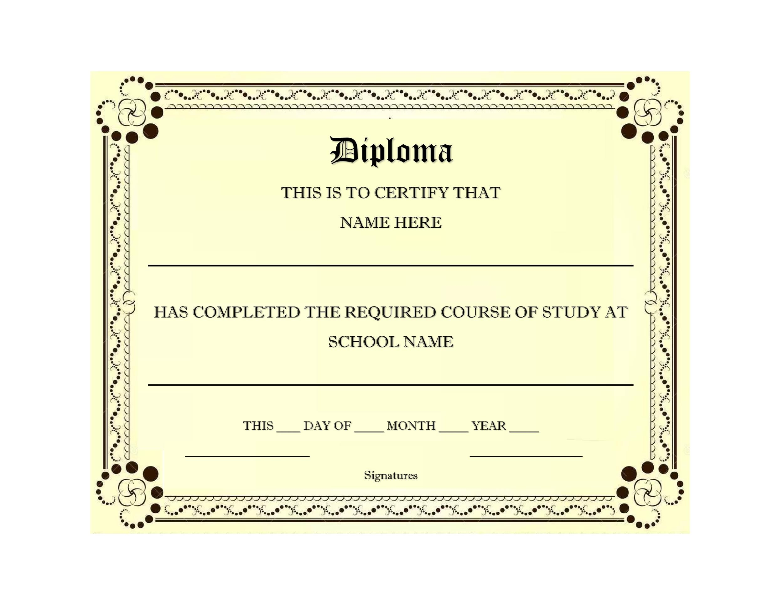 graphic relating to Free Printable Diploma Template known as 30 Correct Bogus Degree Templates (Substantial faculty, College or university