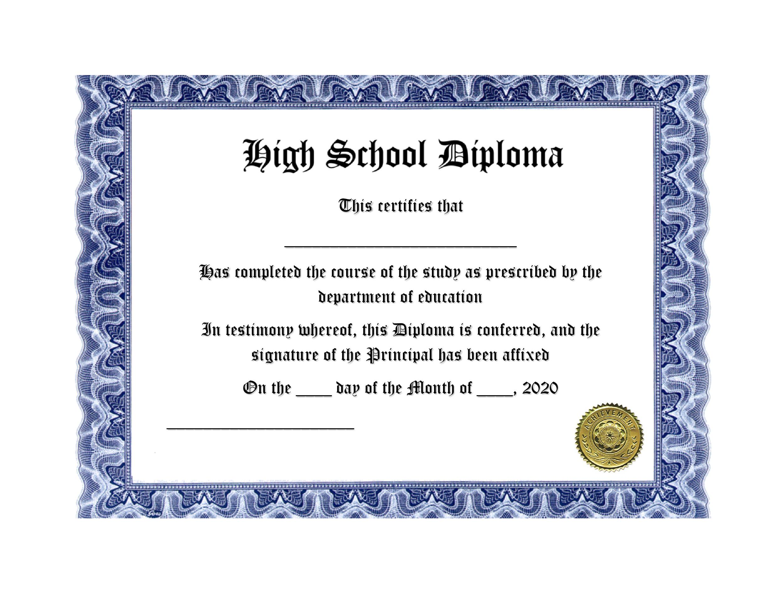 30 real fake diploma templates high school college homeschool