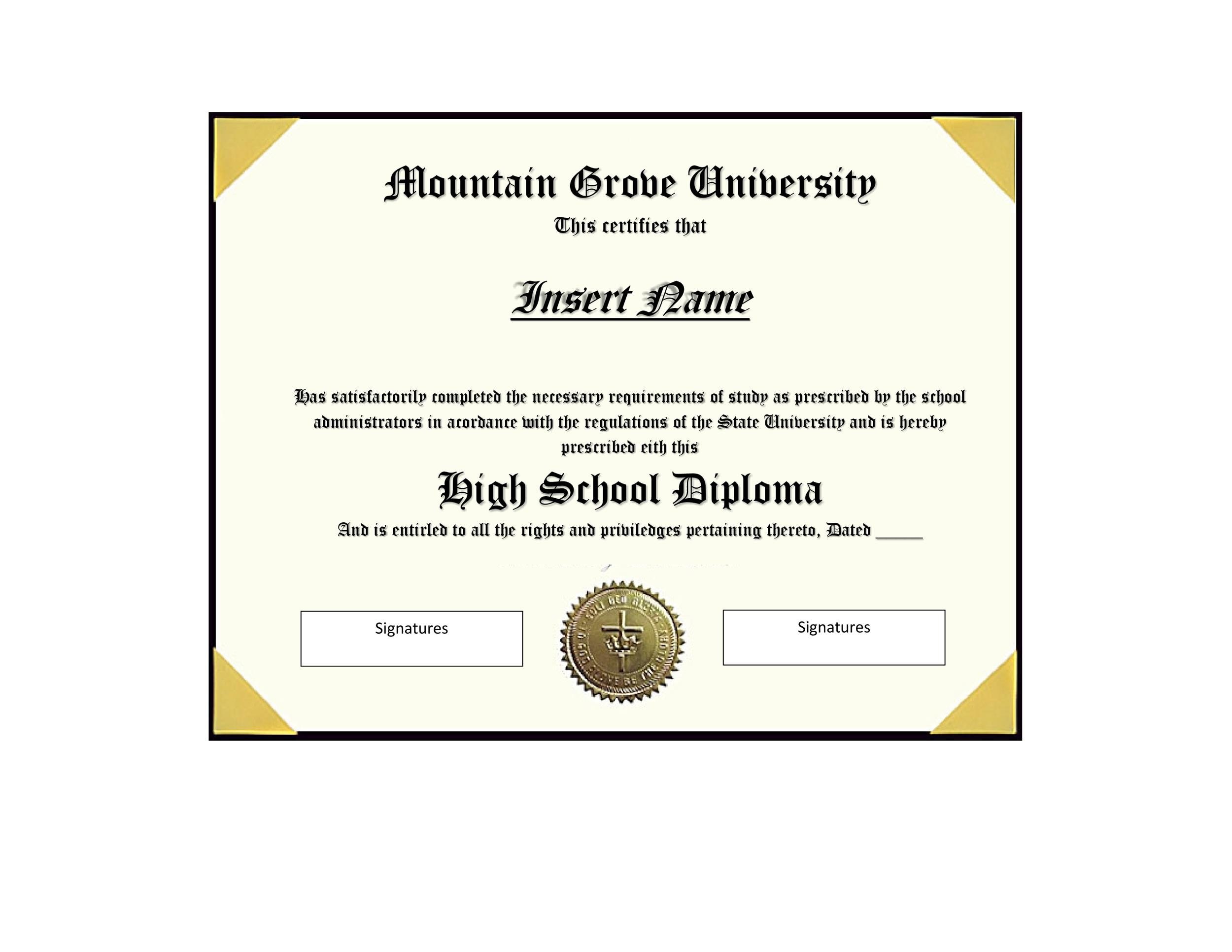 photograph regarding Printable High School Diploma referred to as 30 Correct False Degree Templates (Significant university, College or university