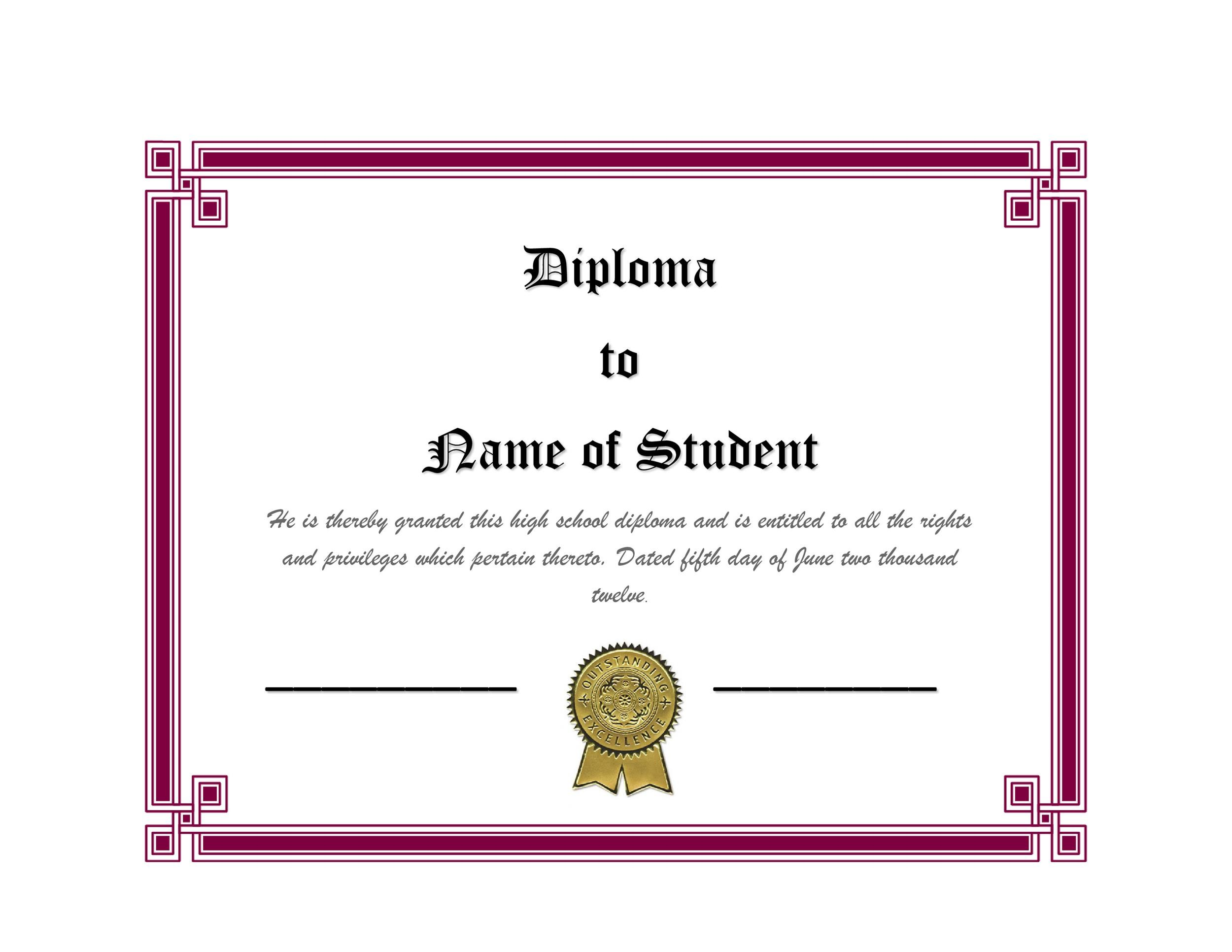 Transformative image pertaining to printable diploma template