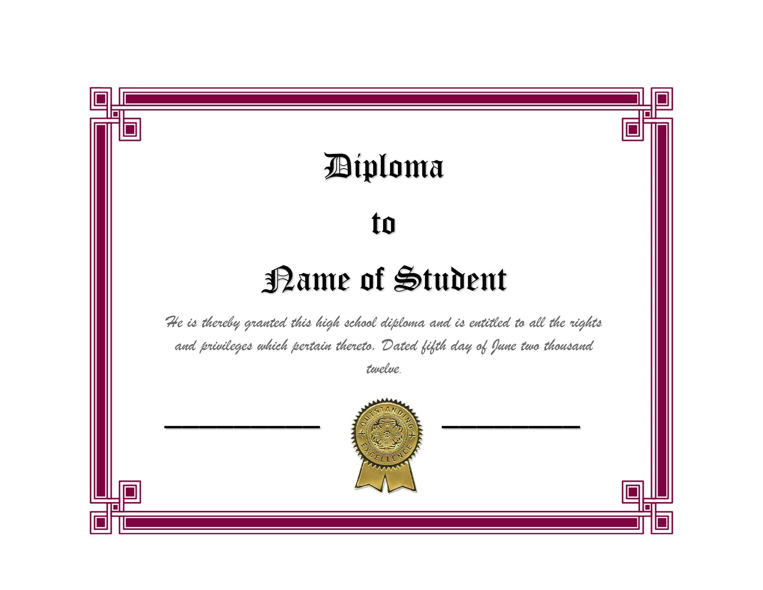 Free Diploma Template 21