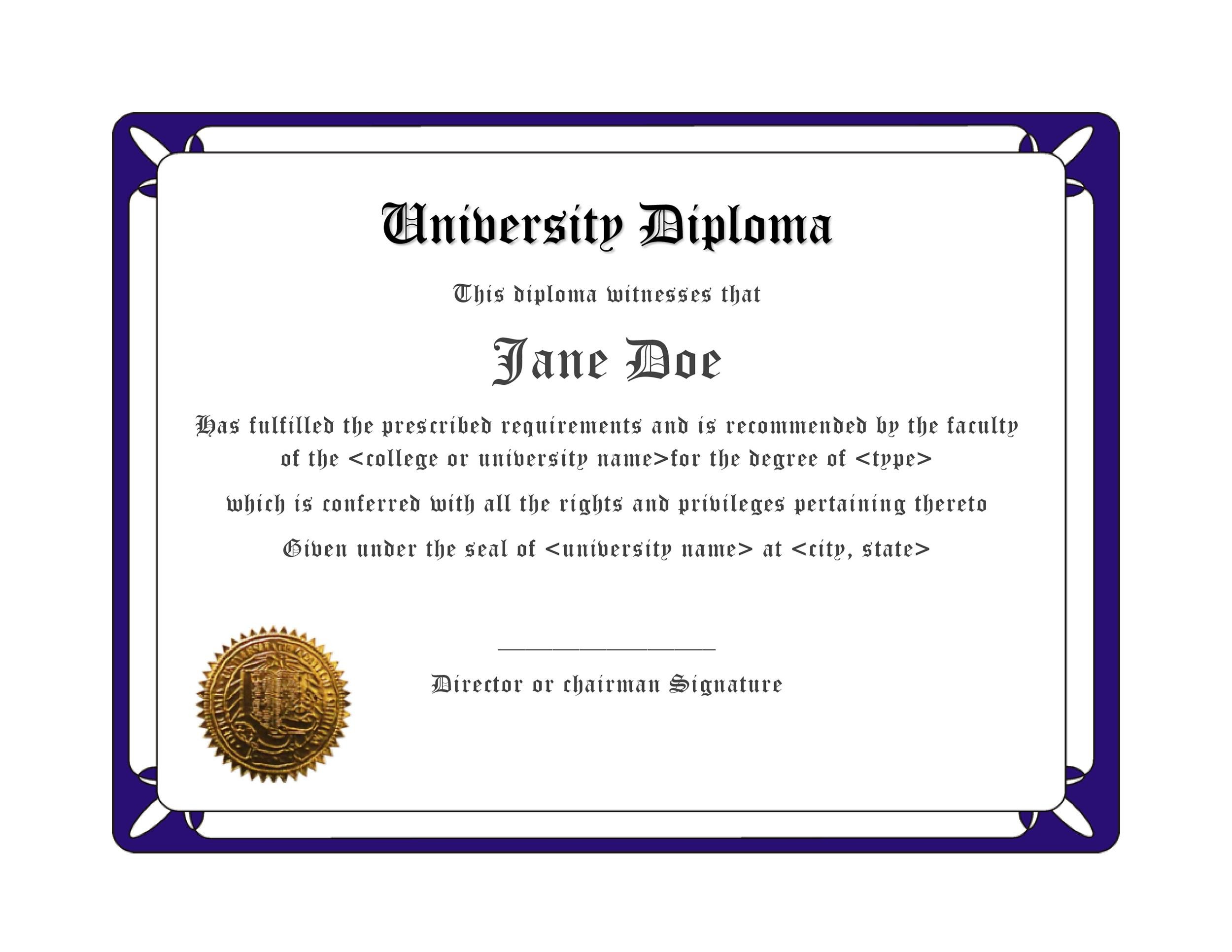 Free Diploma Template 23