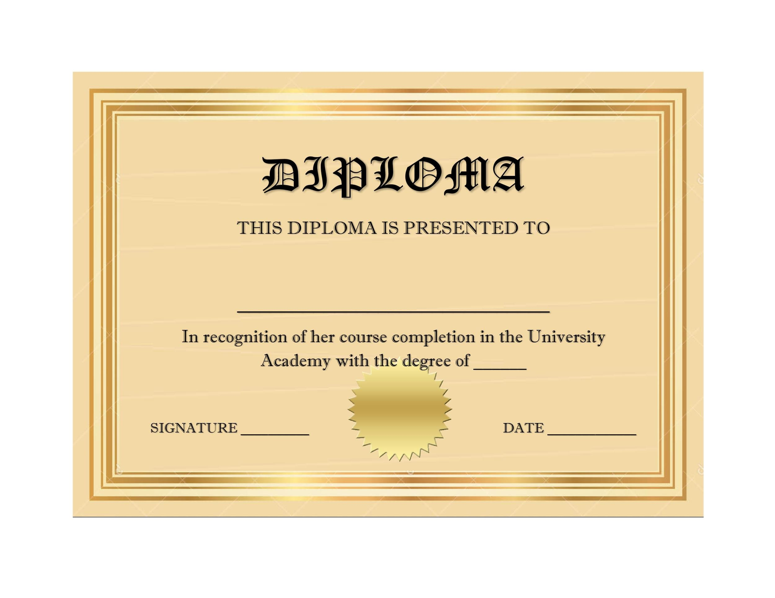 Free Diploma Template 25