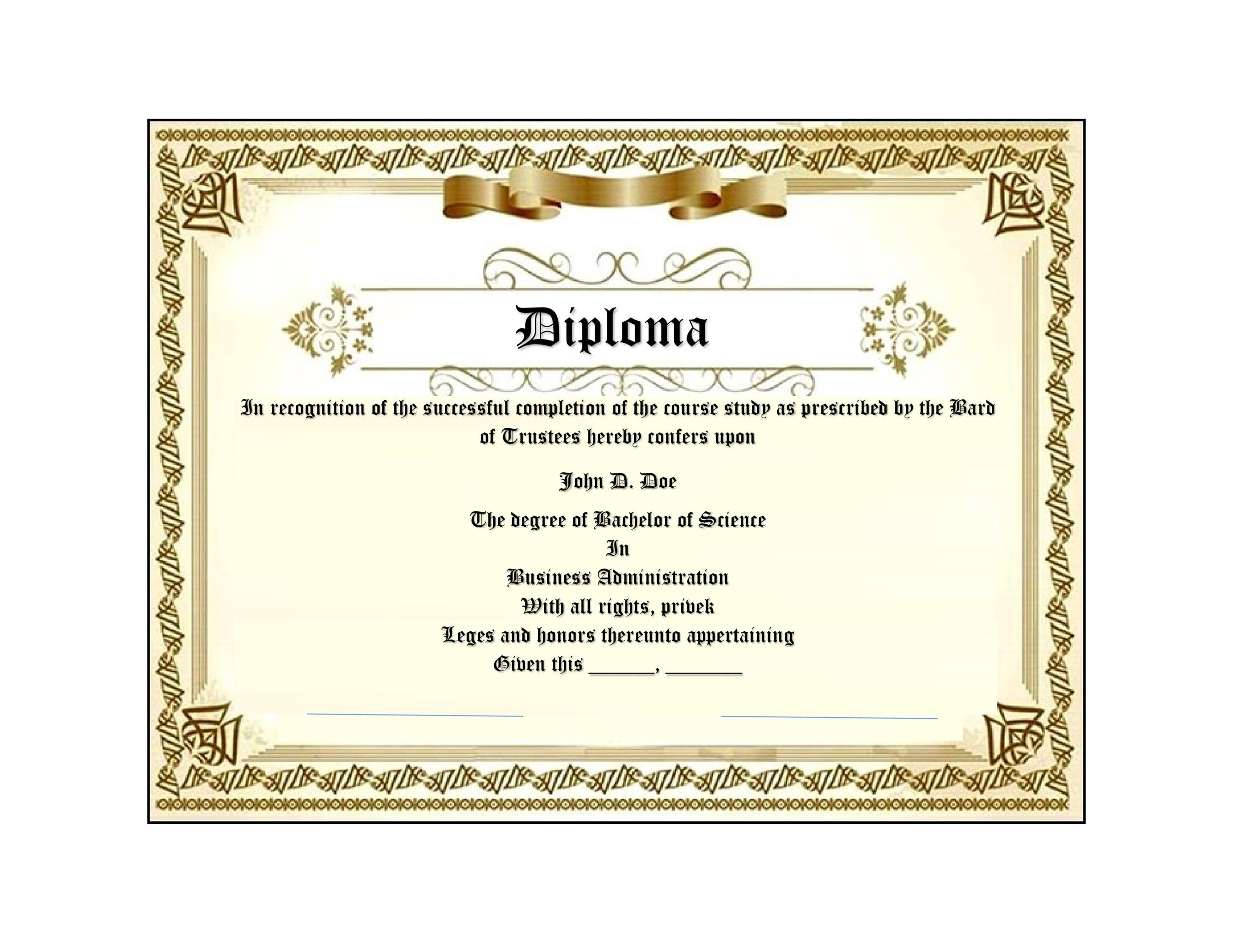 Free Diploma Template 28