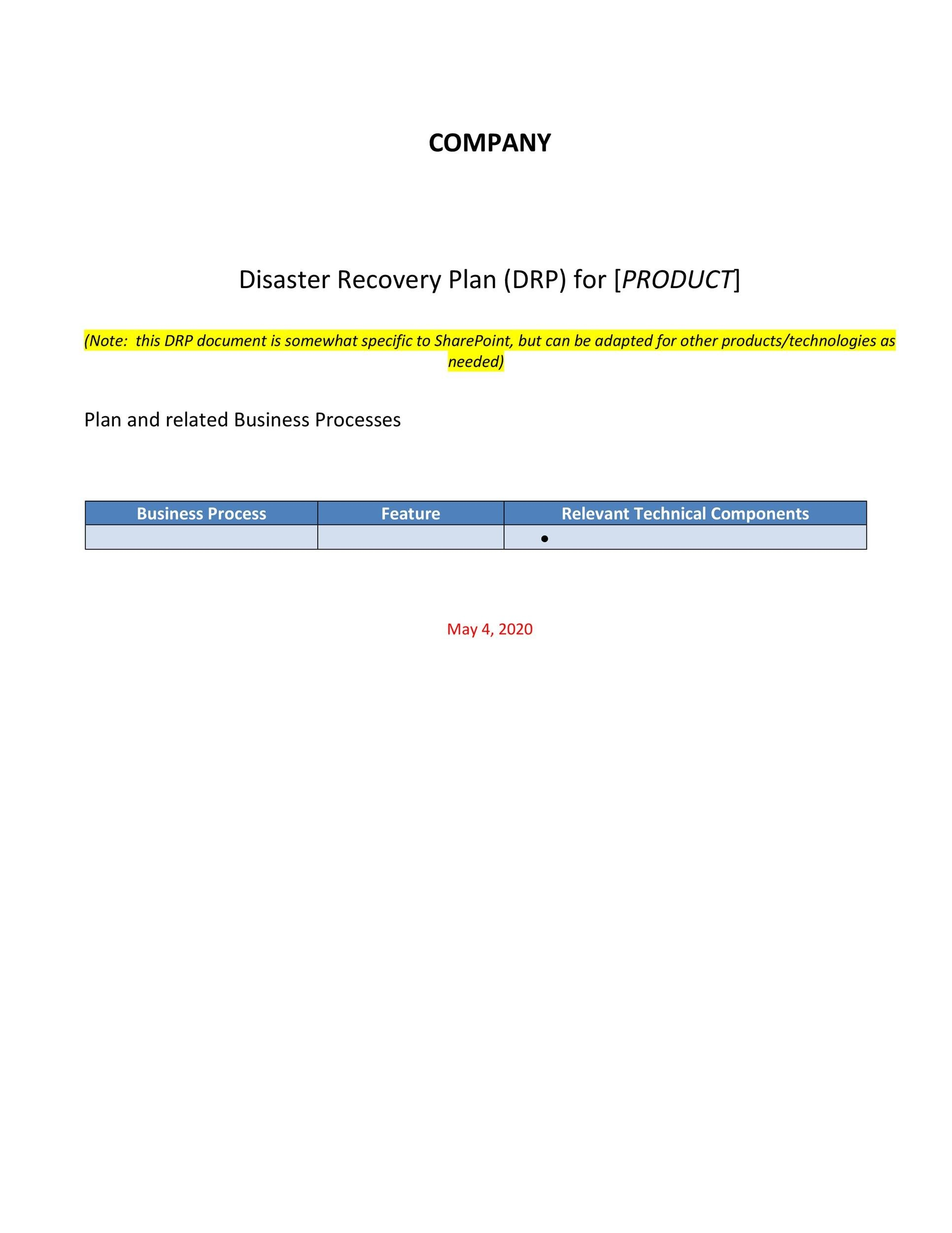 Free Disaster Recovery Plan Template 04