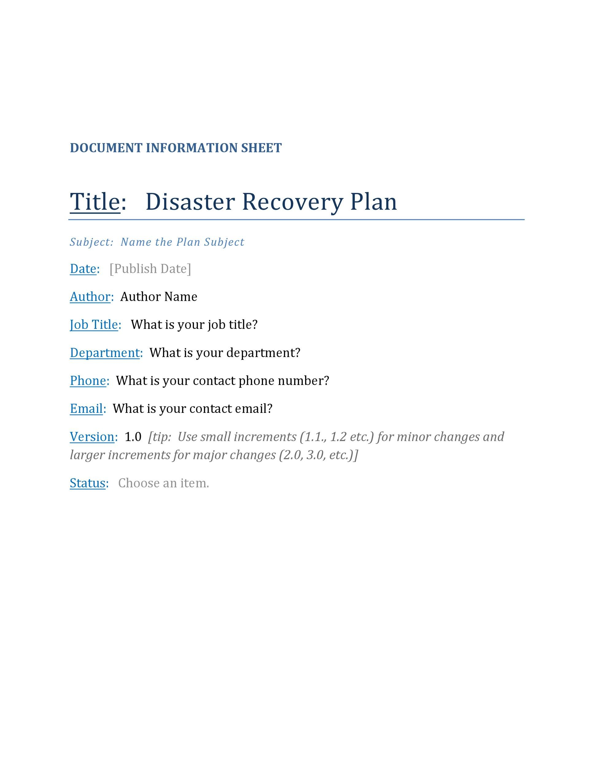 disaster recovery plan 09 In this eguide, we'll explain why a comprehensive cybersecurity and disaster- recovery plan should be a top priority for your company, even if it.