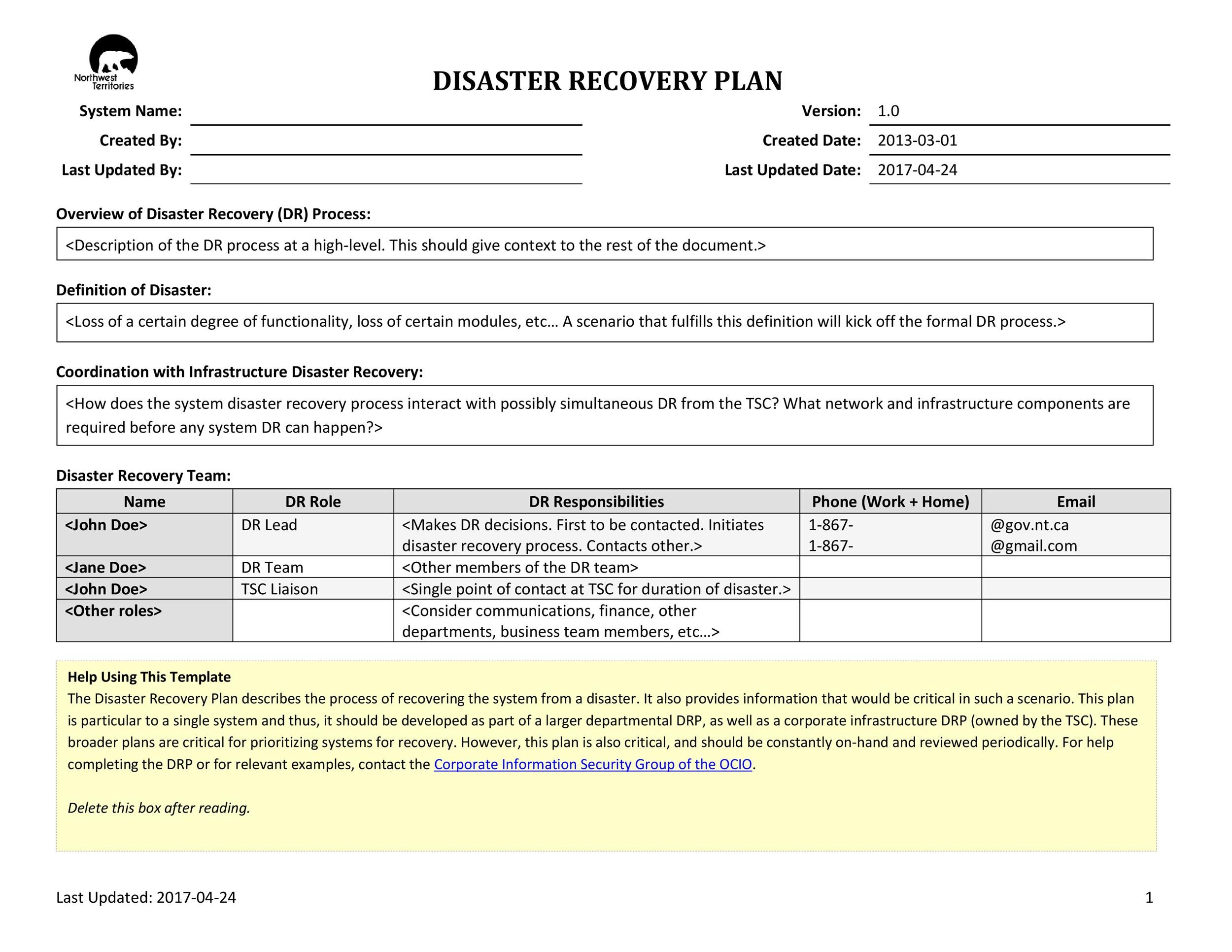 Free Disaster Recovery Plan Template 07