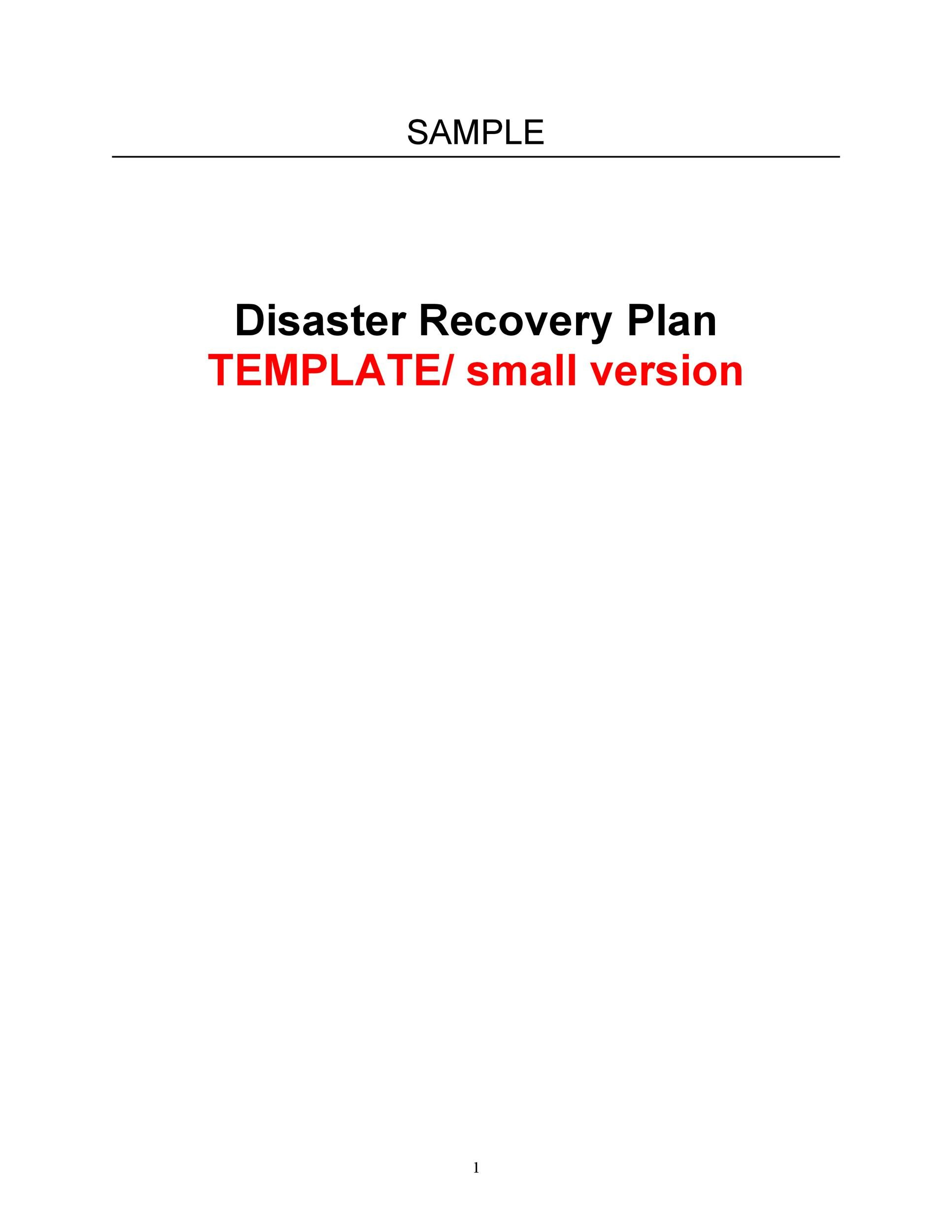 Free Disaster Recovery Plan Template 08