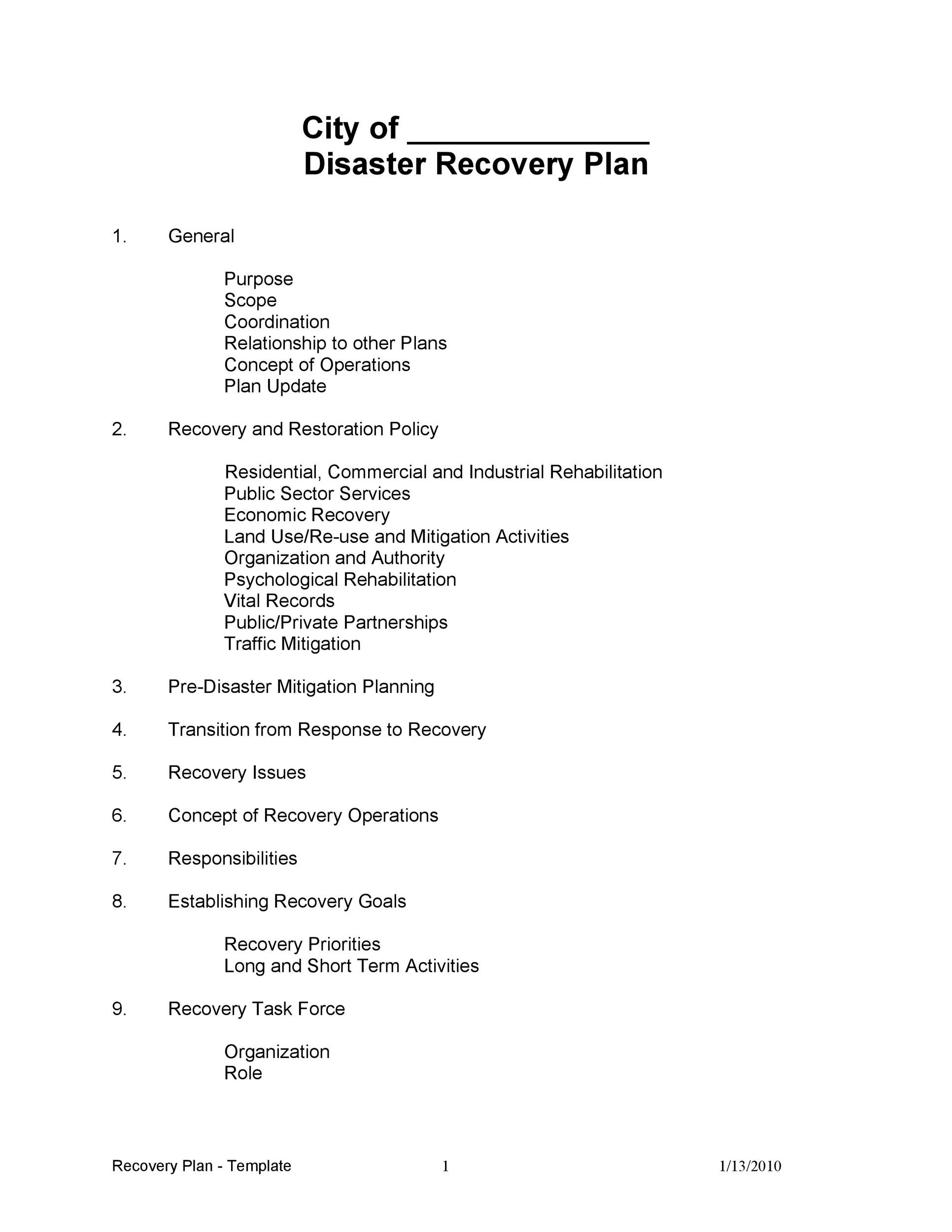 Free Disaster Recovery Plan Template 20