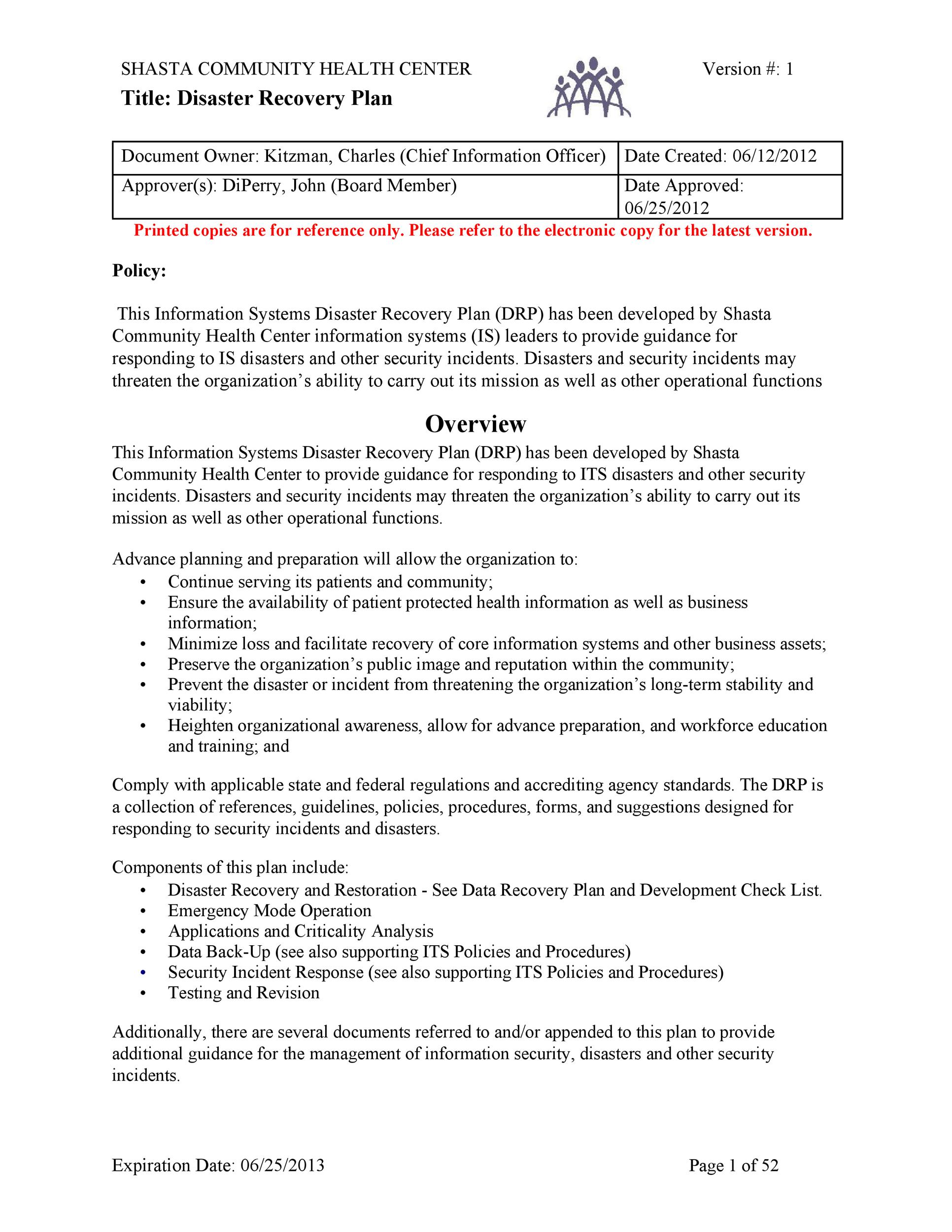 52 Effective Disaster Recovery Plan Templates Drp Template Lab