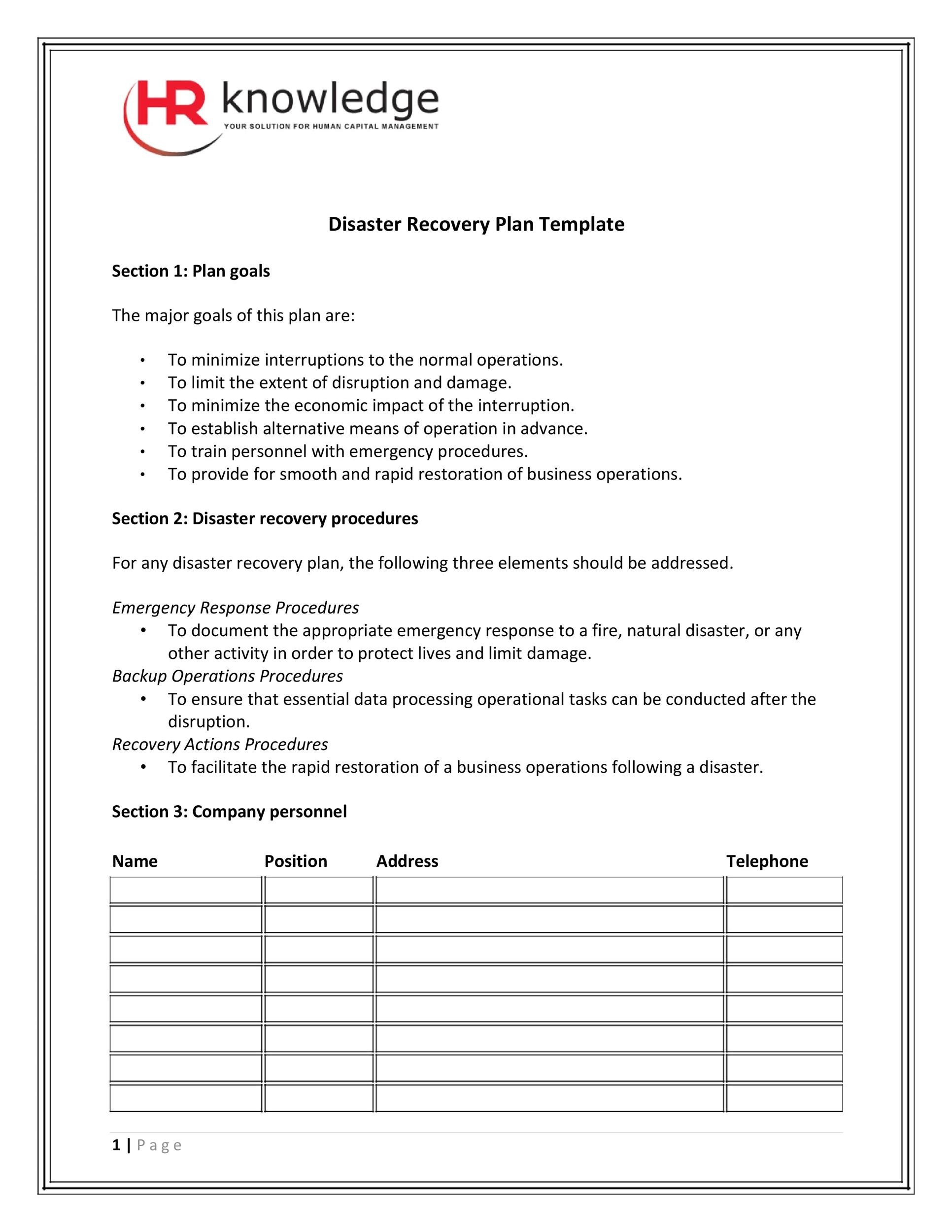 52 Effective Disaster Recovery Plan Templates DRP Template Lab – Emergency Response Plan Template