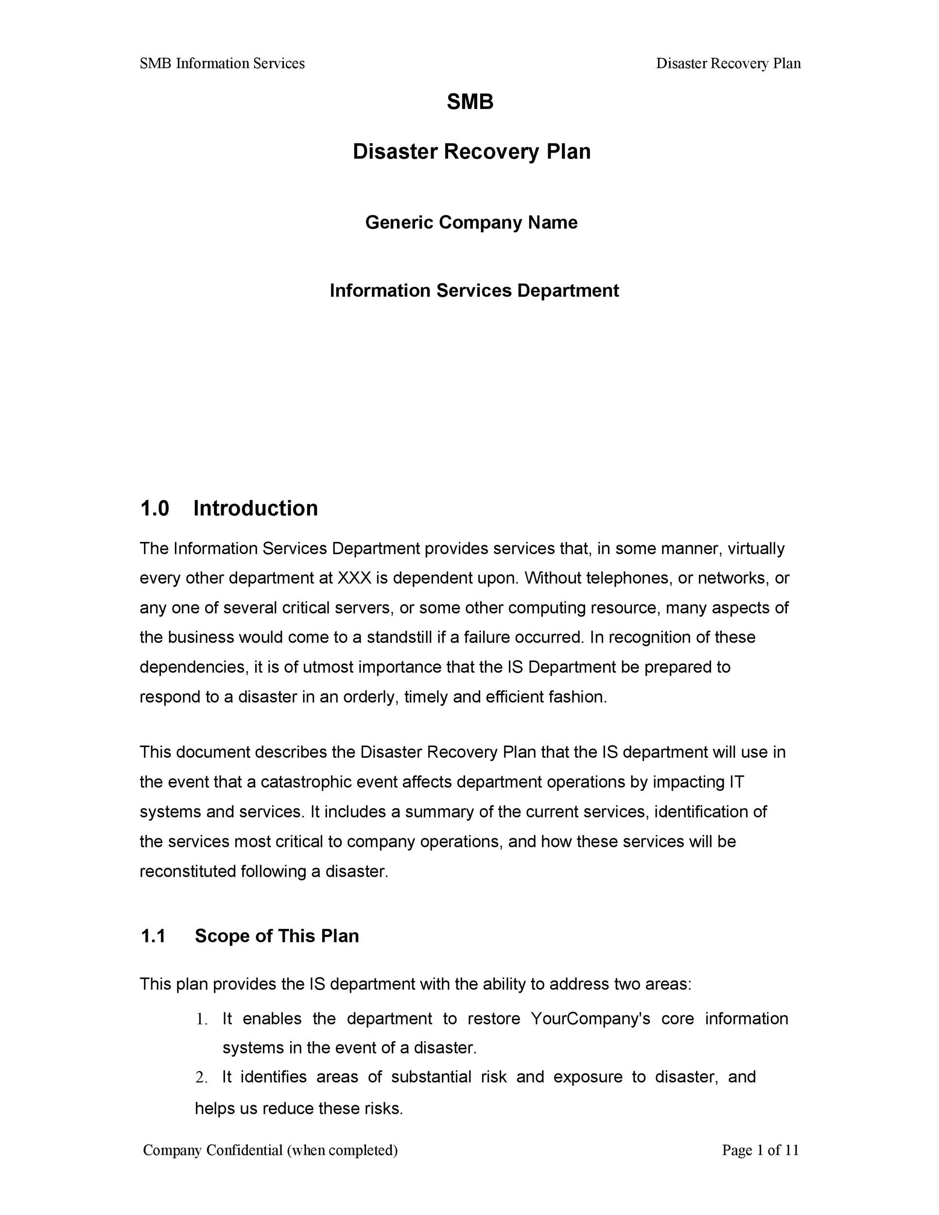 Free Disaster Recovery Plan Template 43