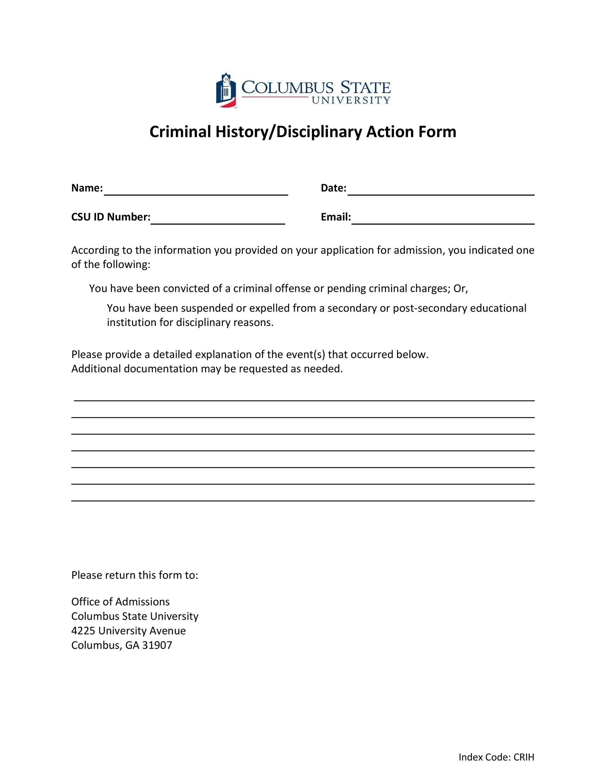 Free Disciplinary Action Form 10