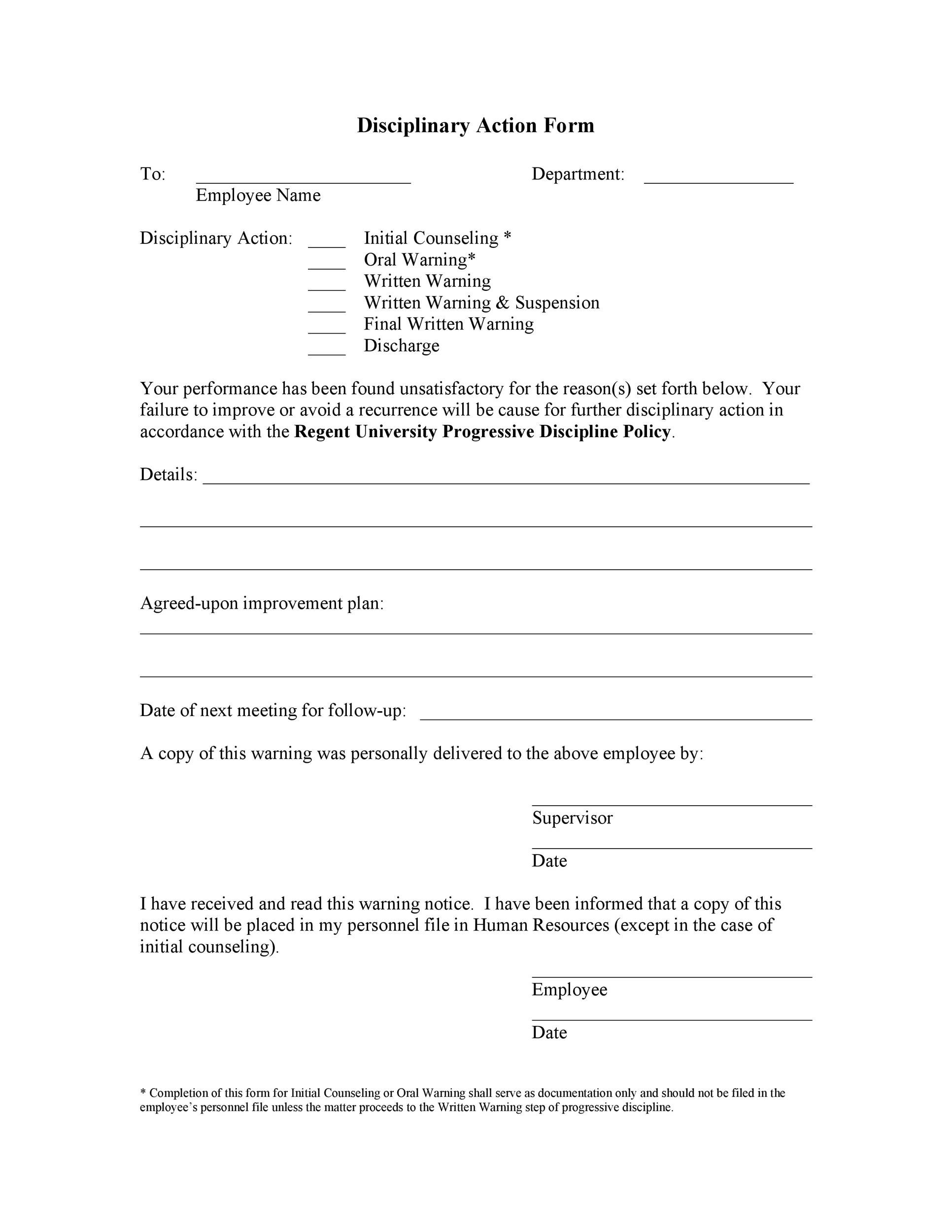 Free Disciplinary Action Form 11